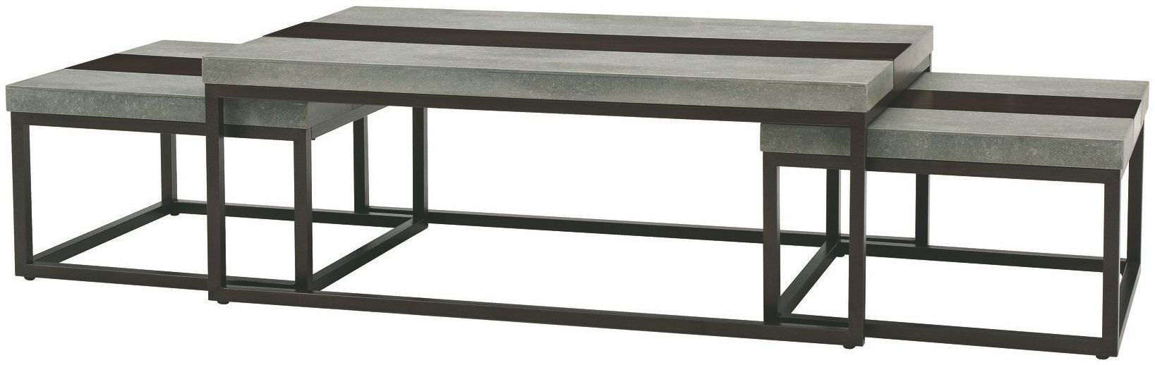 Stoneworks Merlot Natural Stone Cocktail Table With 2