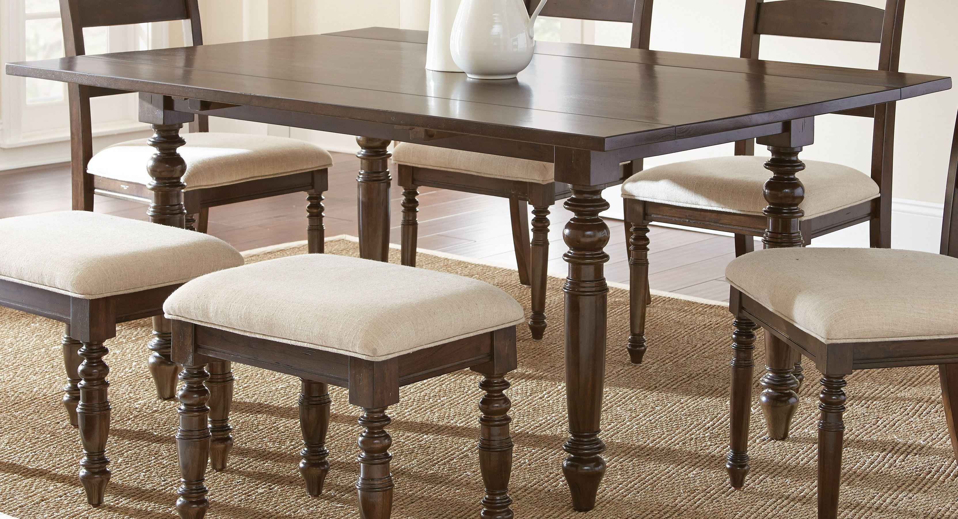 Bexley warm espresso rectangular drop leaf dining table for Rectangular drop leaf dining table