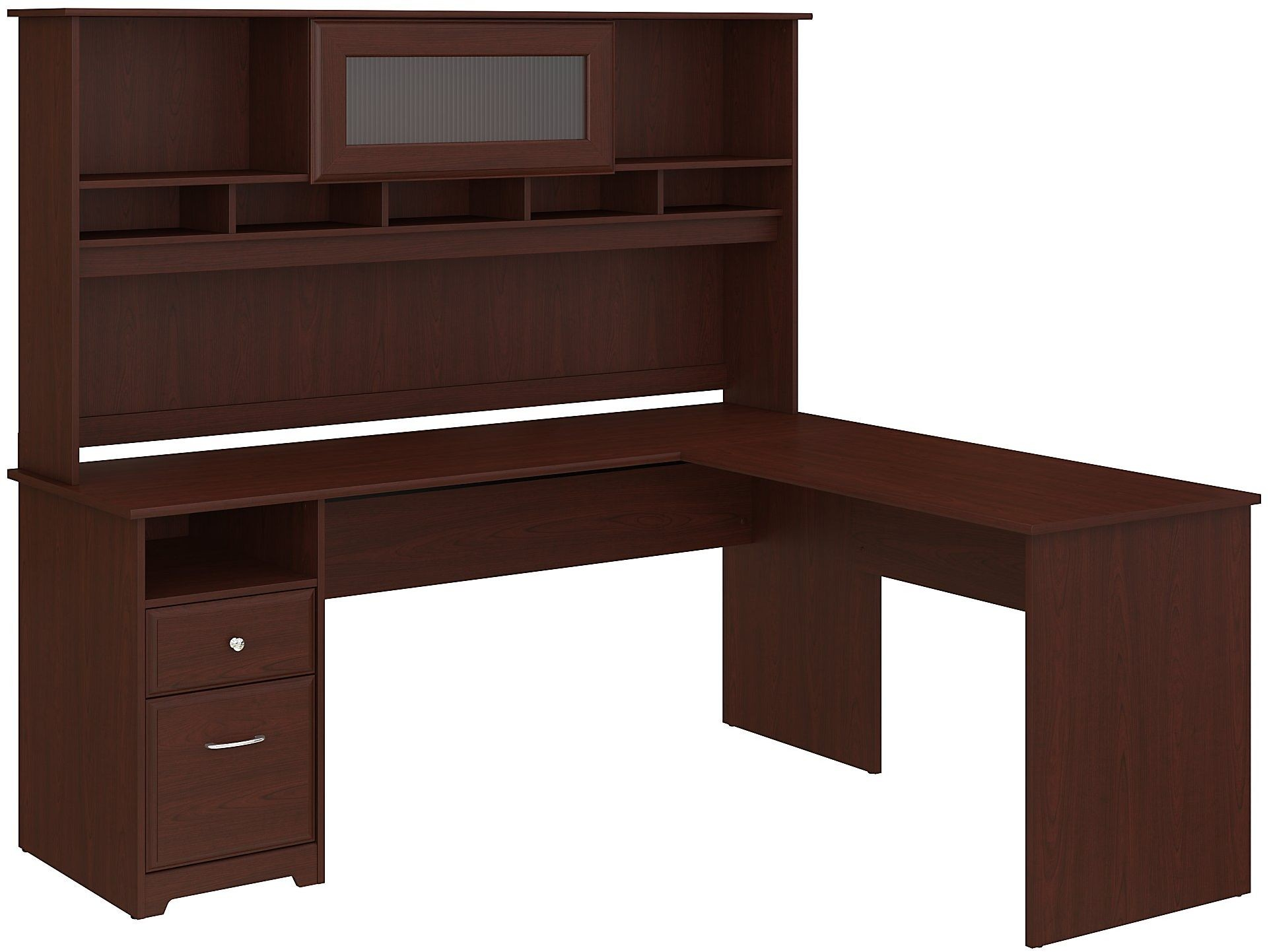 Cabot Harvest Cherry Computer Desk With Hutch From Bush