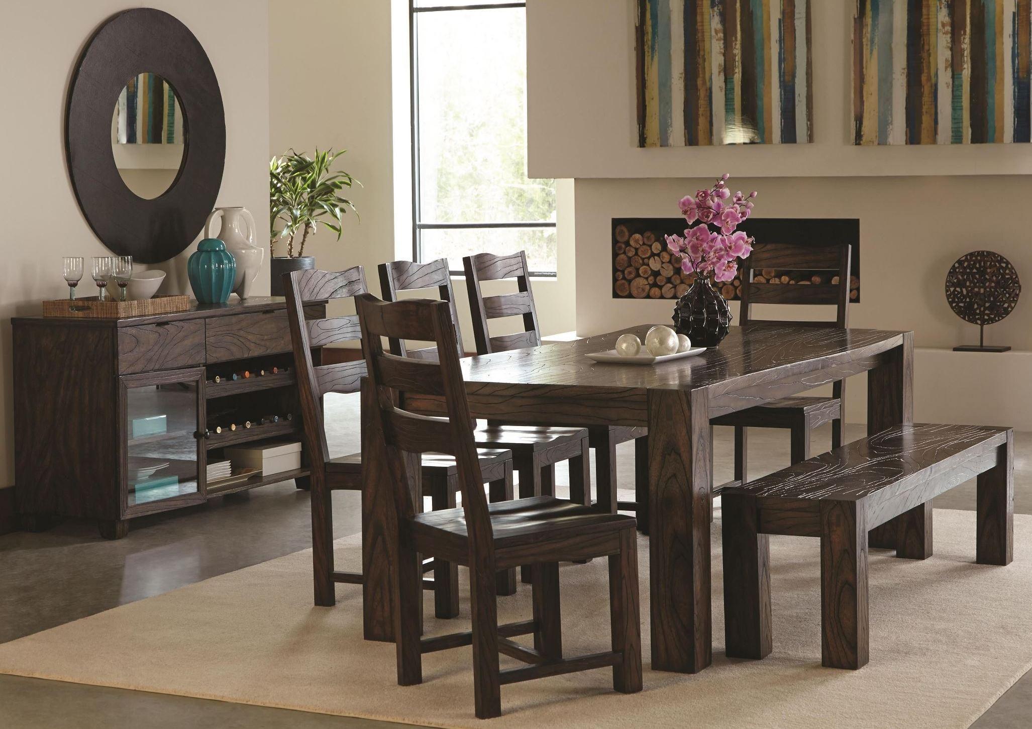 Calabasas dark brown dining room set from coaster 121151 for Brown dining room set