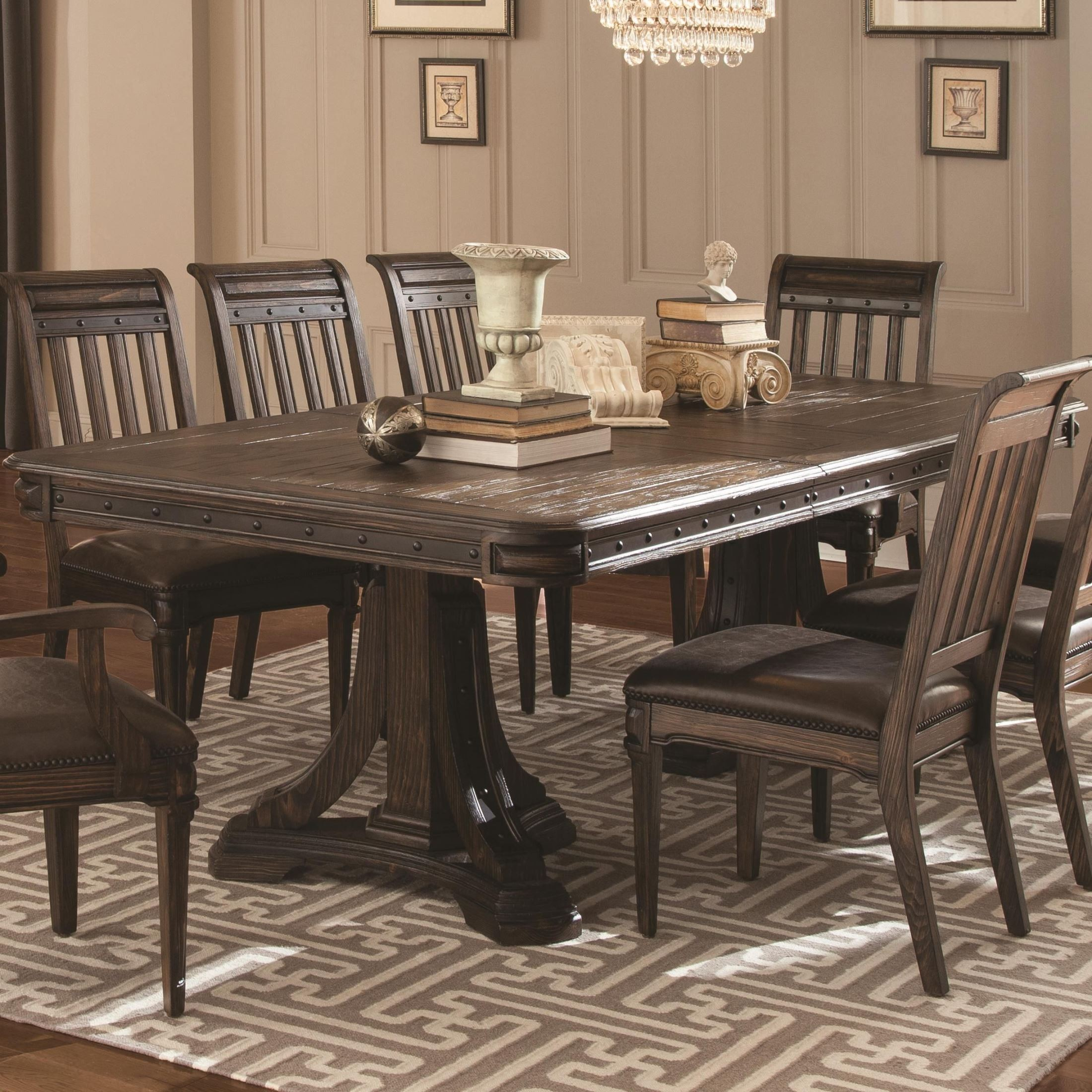 Rectangular Extendable Dining Table: Carlsbad Dark Brown Rectangular Extendable Dining Table