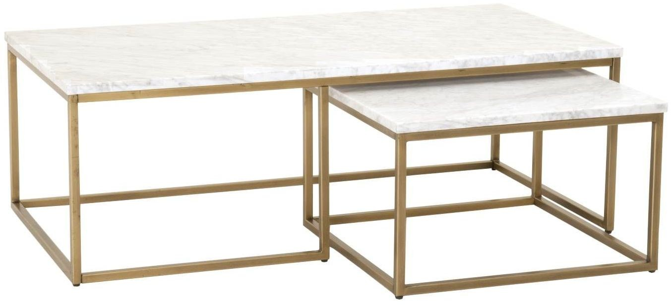 Carrera brushed gold and white nesting coffee table from for White nesting coffee table