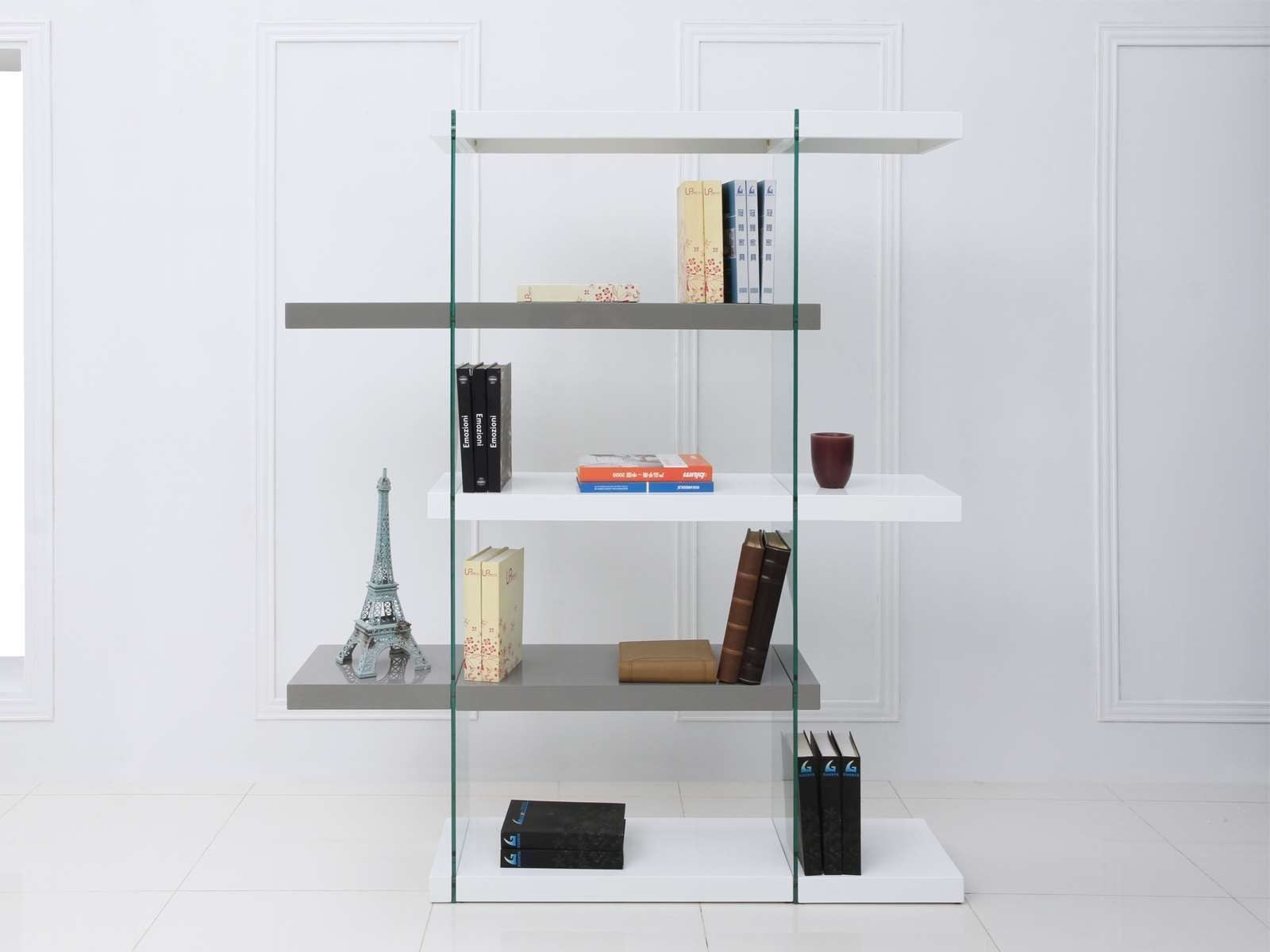 """Il Vetro High Gloss White And Gray 71"""" Bookcase From"""