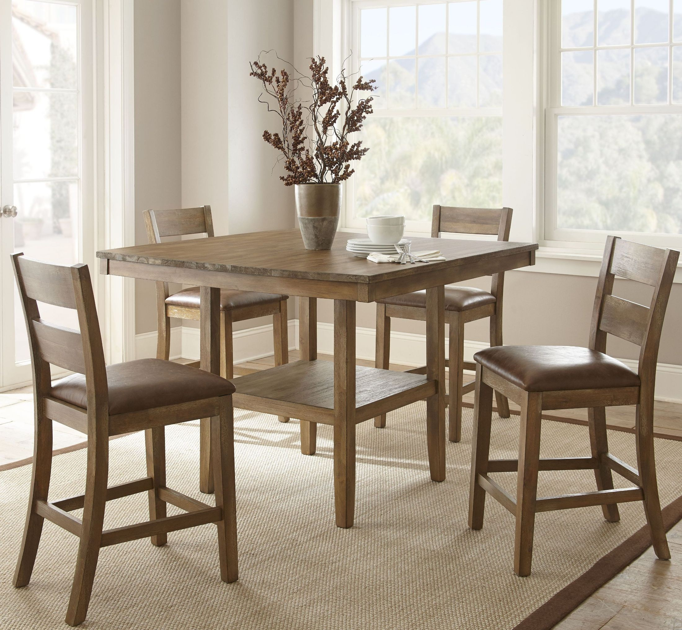 Dining Room Sets Rustic: Cambrey Rustic Honey Counter Height Dining Room Set