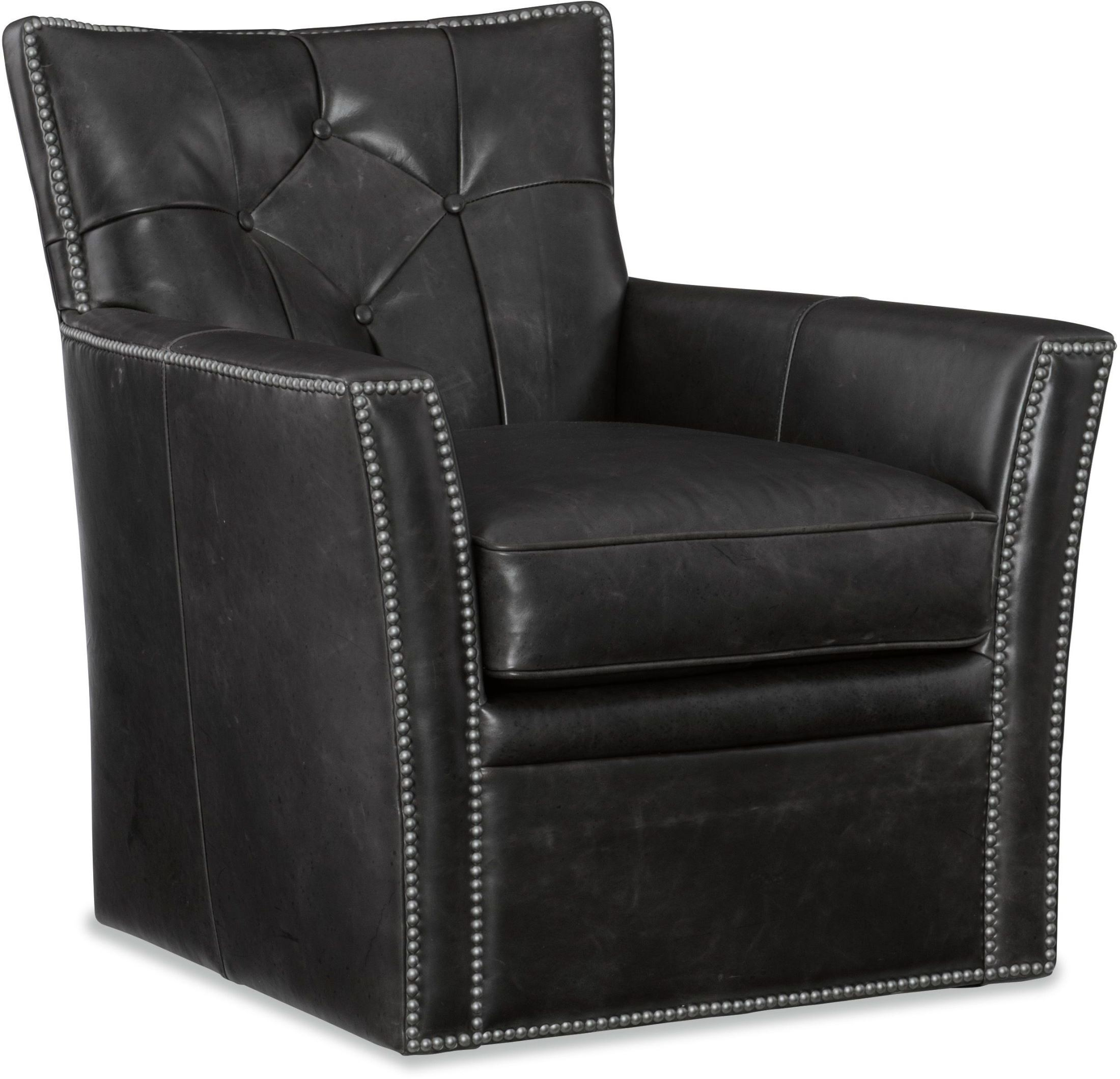 Conner black leather swivel club chair from hooker for Swivel club chair leather