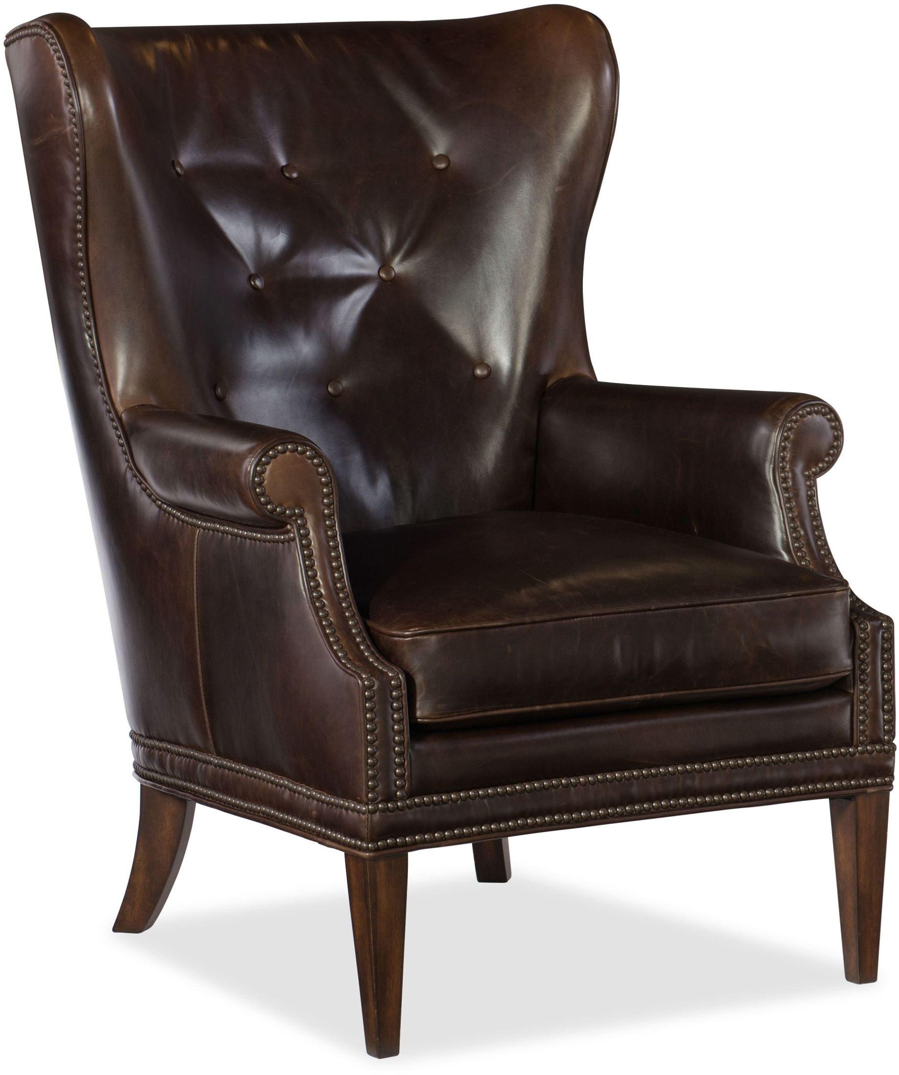 Maya Dark Brown Wing Club Chair from Hooker