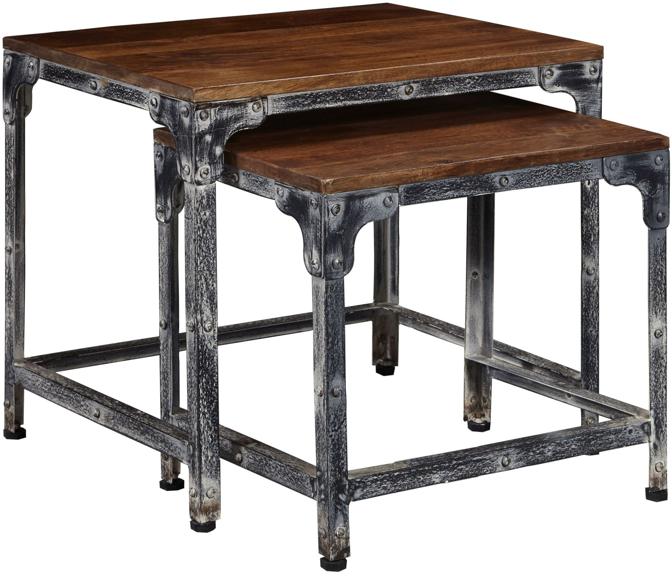Distressed Wood And Metal Nesting Tables From Pulaski