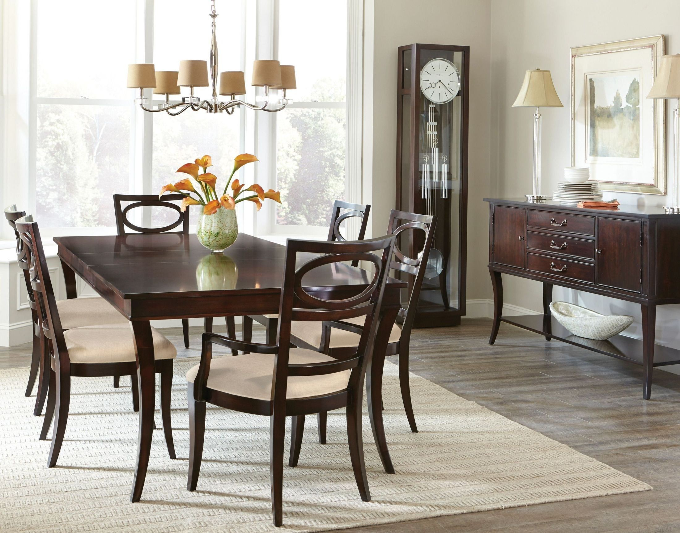Central park brown extendable dining room set from hekman for Brown dining room set