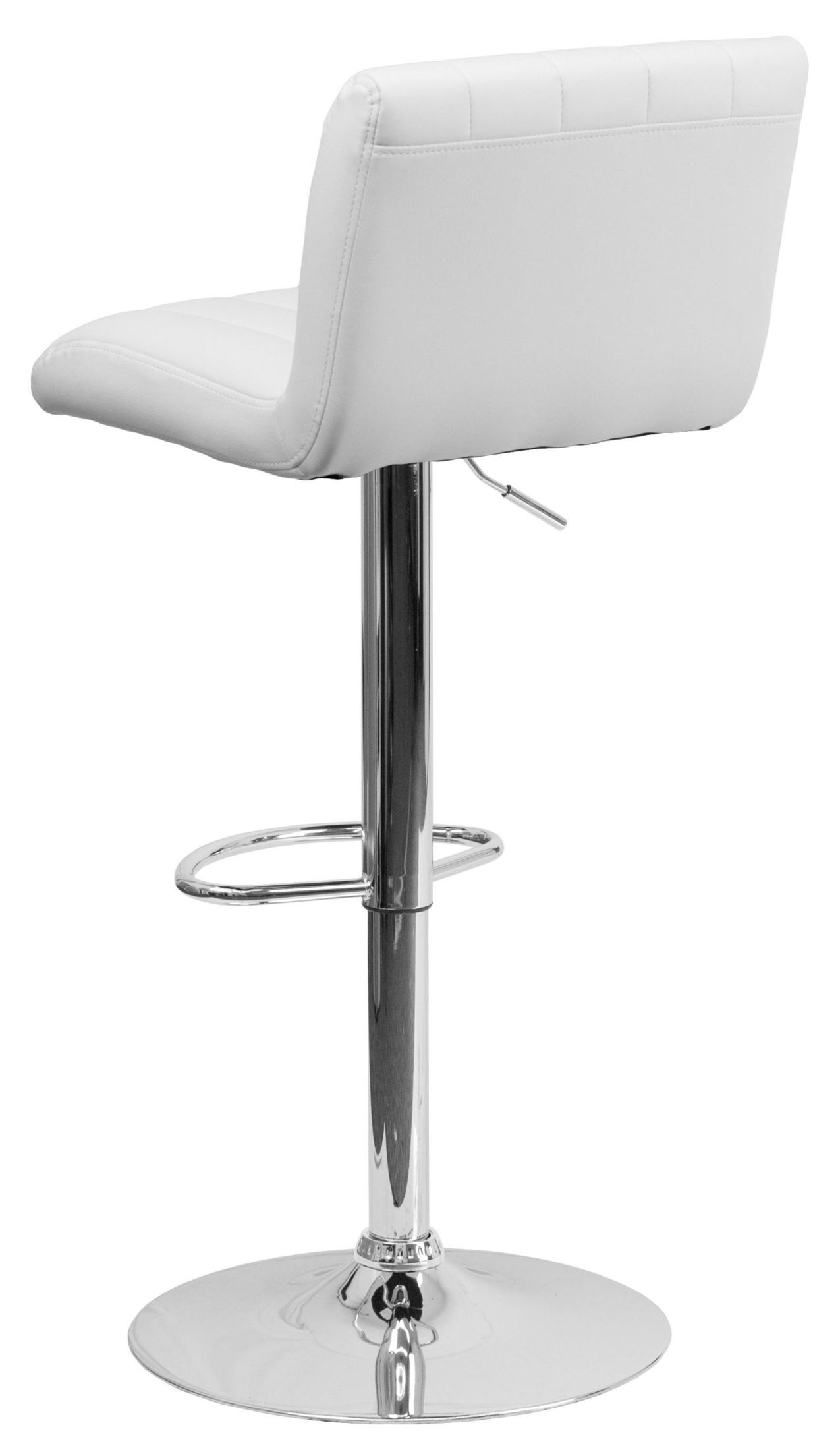 1000559 White Vinyl Adjustable Height Bar Stool From