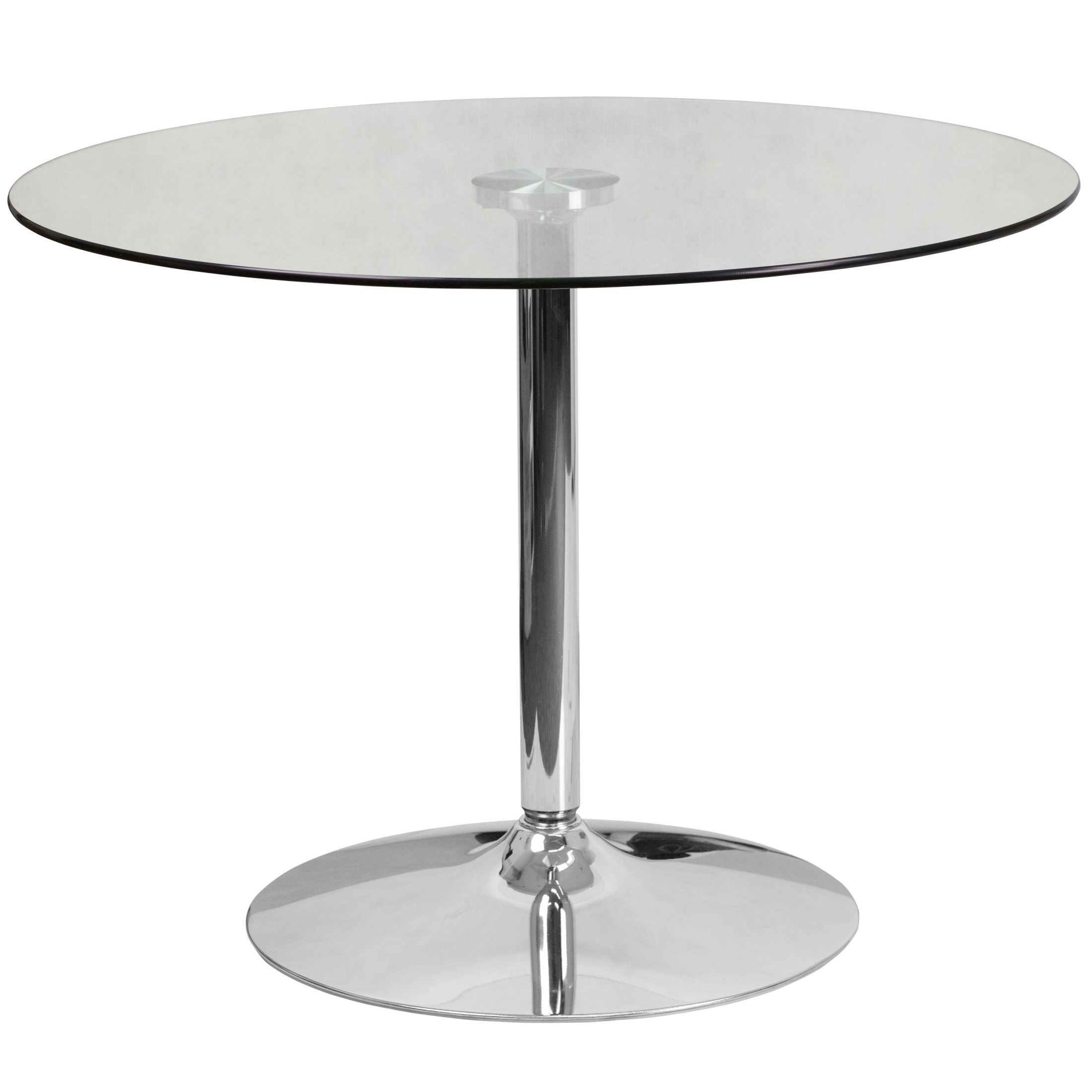 "25 Inch Round Glass Coffee Table: 39.25"" Round Glass Table With Chrome Base From Renegade"