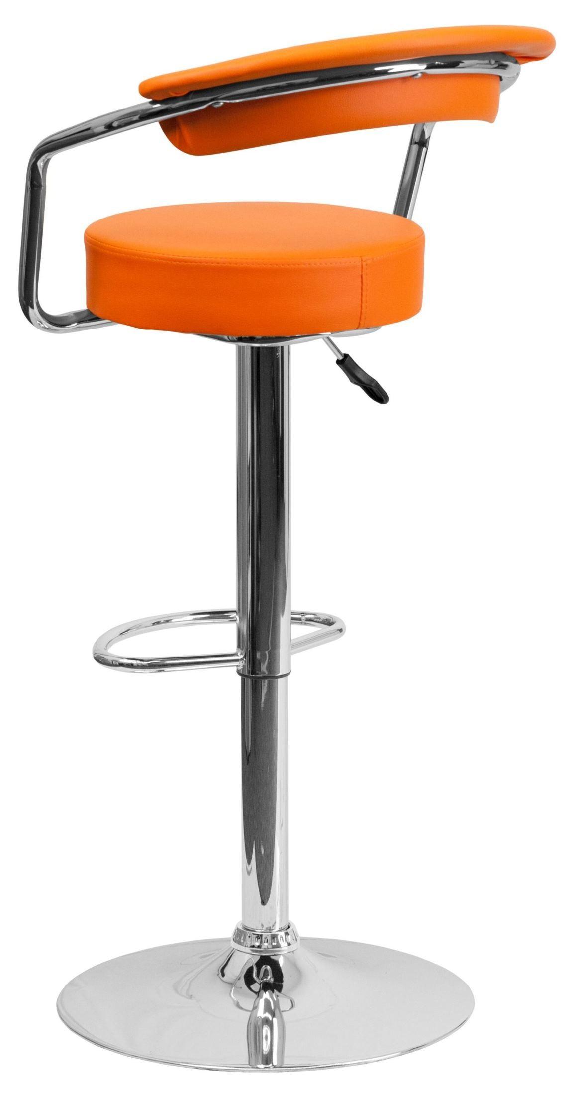 Orange Vinyl Adjustable Height Arm Bar Stool From Renegade