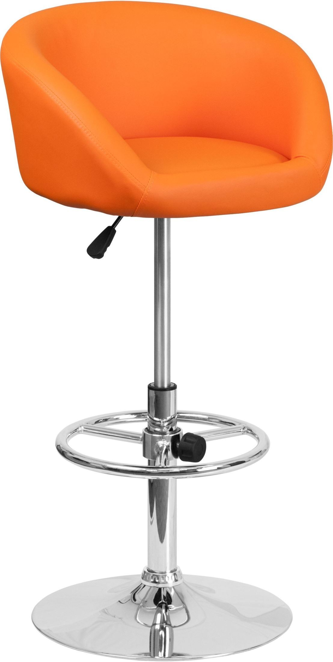 Rounded Swivel Orange Vinyl Adjustable Height Bar Stool