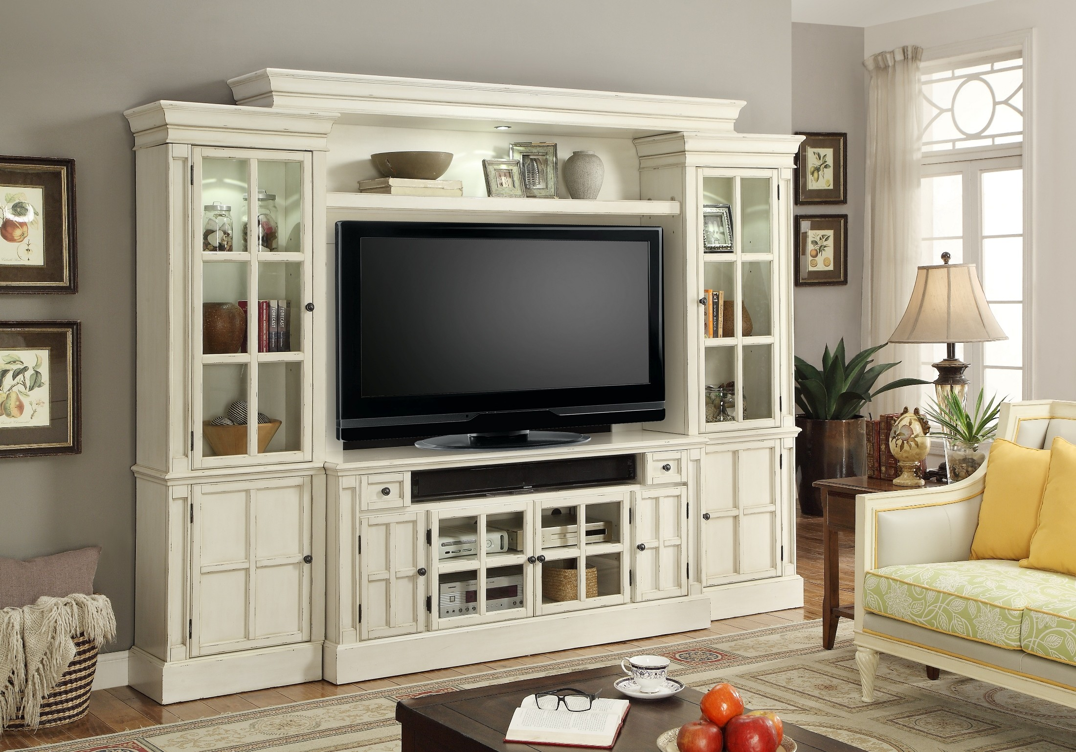 Classic Bedroom Decorating Ideas Charlotte Antique Vintage White 62 Quot Entertainment Wall