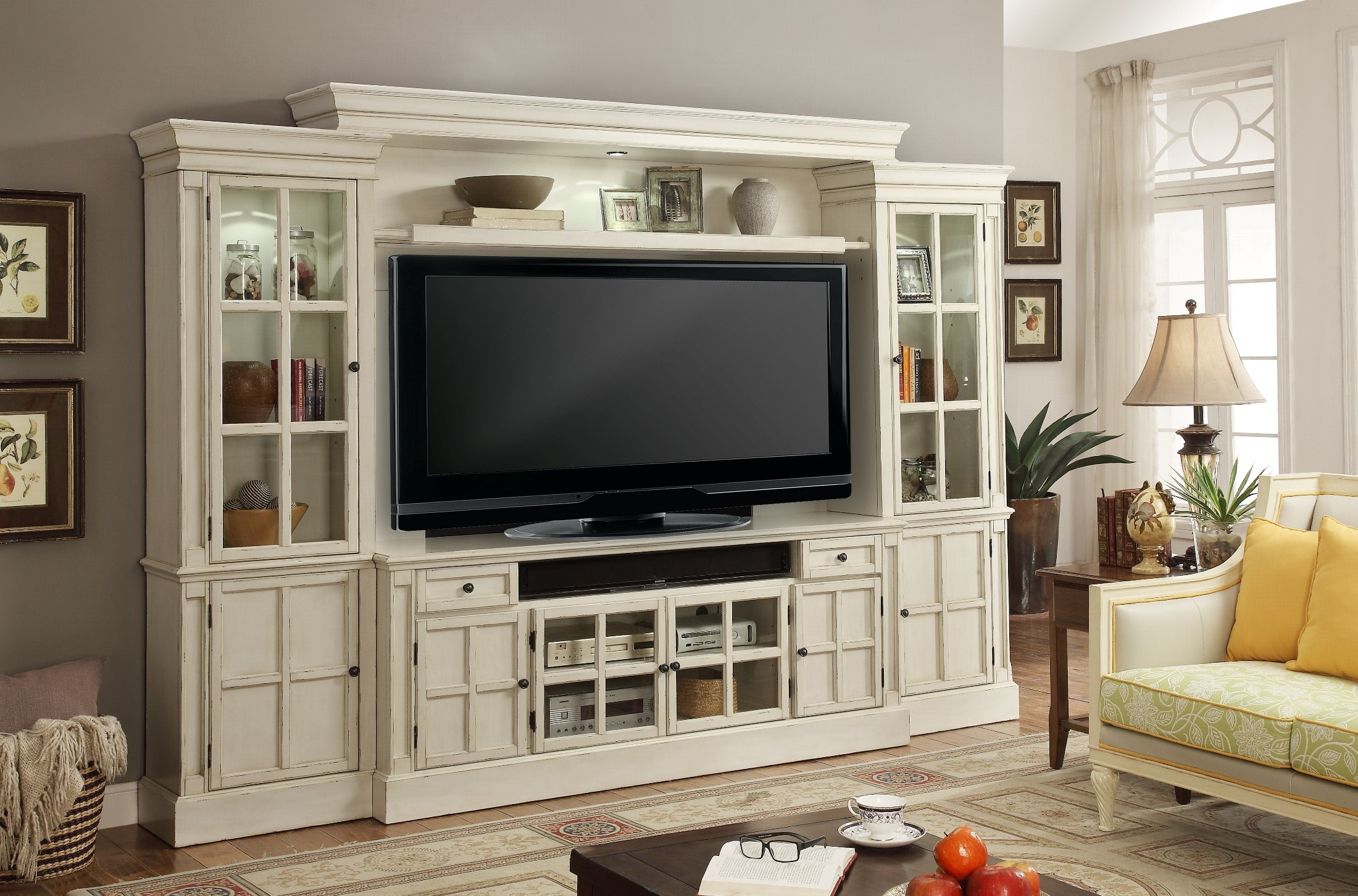 Charlotte antique vintage white 72 entertainment wall for Large tv wall units