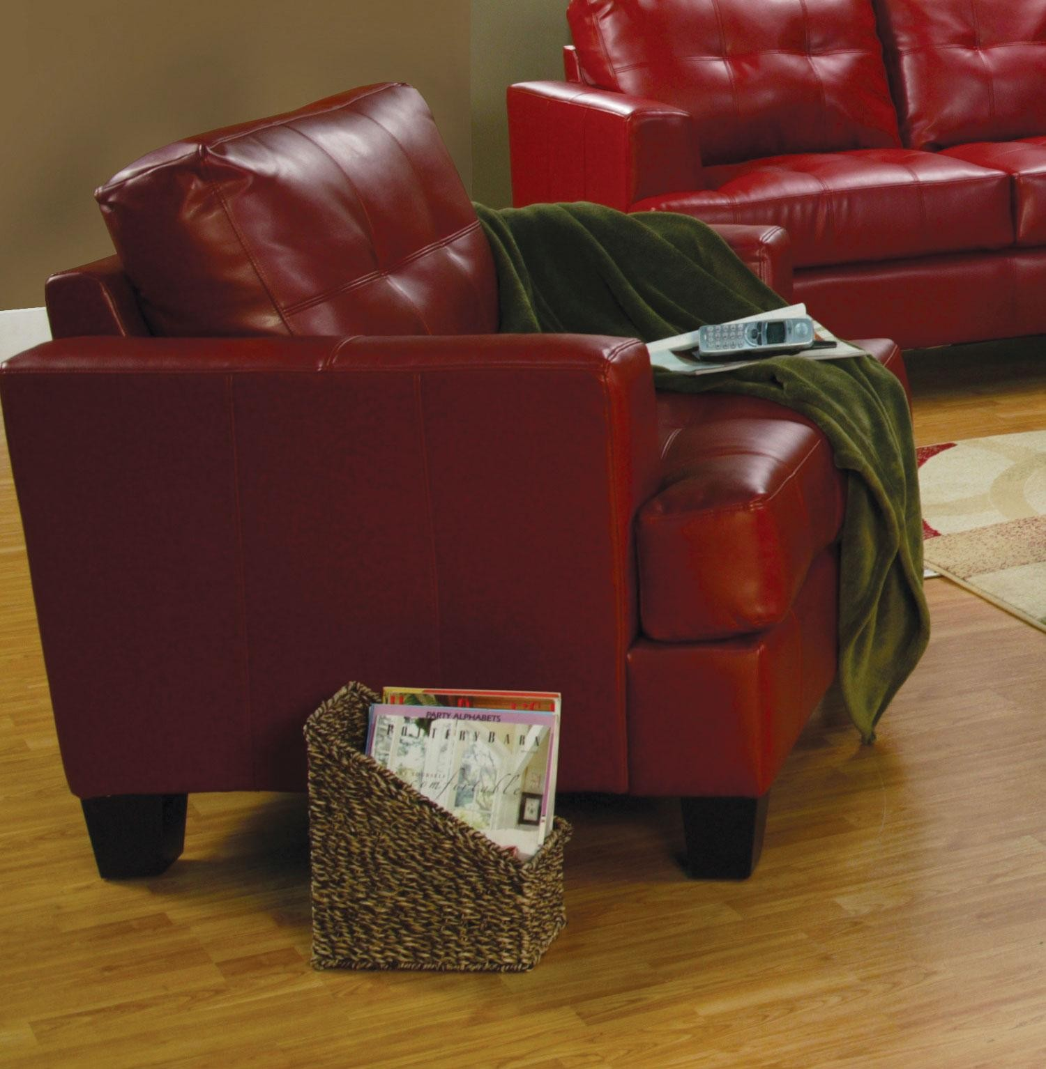 marvelous red leather living room furniture | Samuel Red Leather Living Room Set - 501831 from Coaster ...
