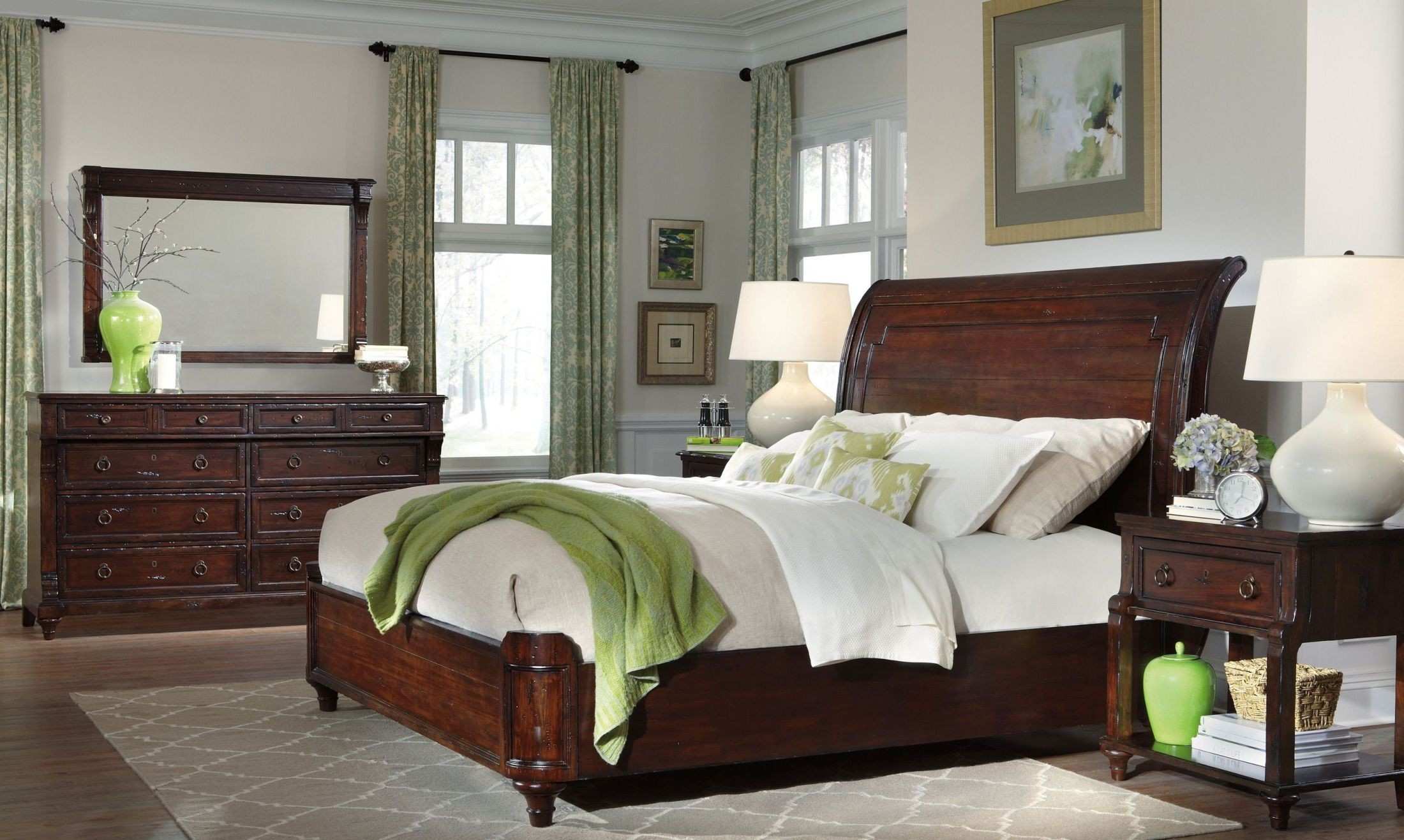 Charleston Place Brown Sleigh Bedroom Set From Hekman