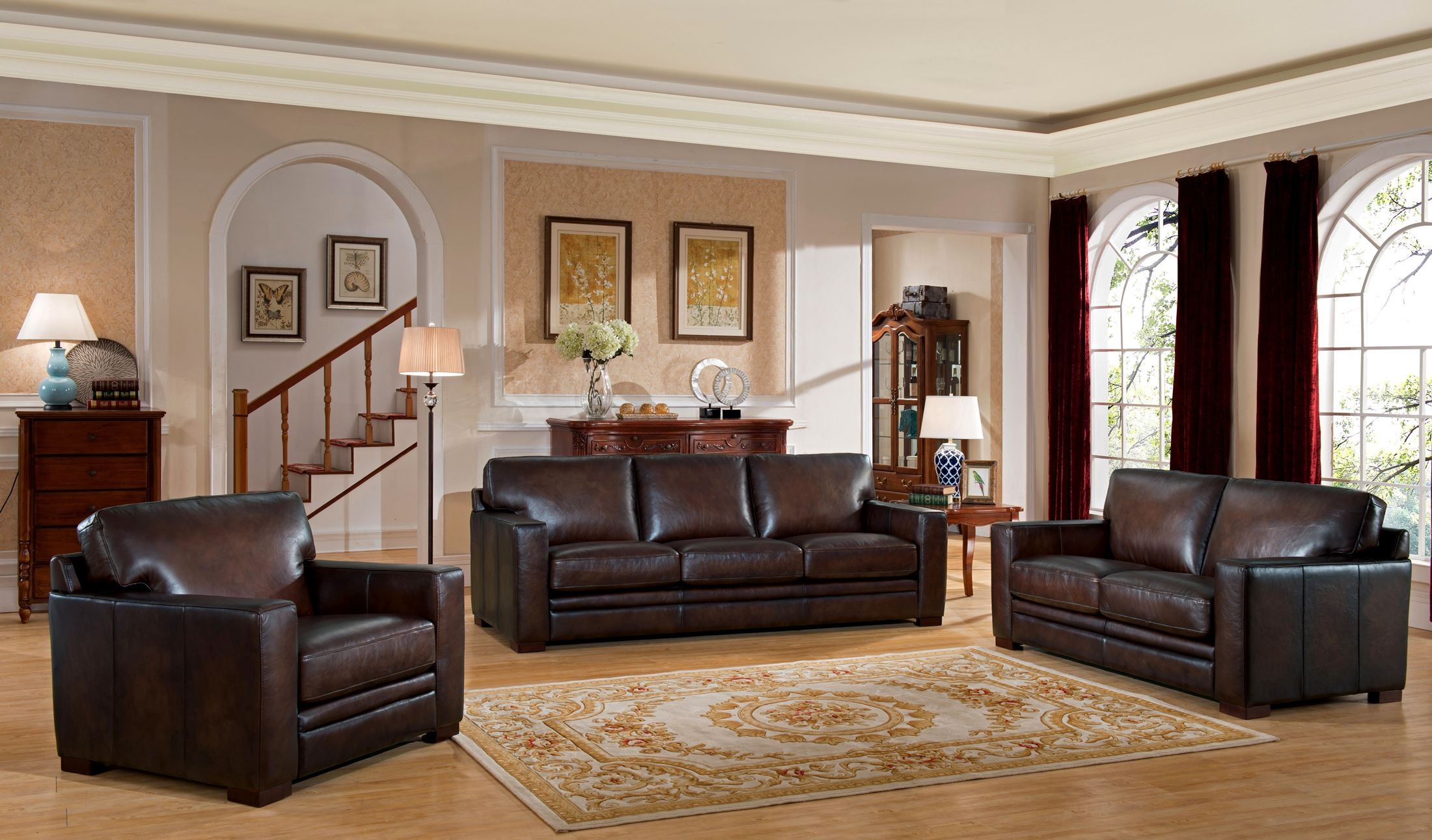 chatsworth brown leather living room set 9927s2828ls amax leather. Black Bedroom Furniture Sets. Home Design Ideas