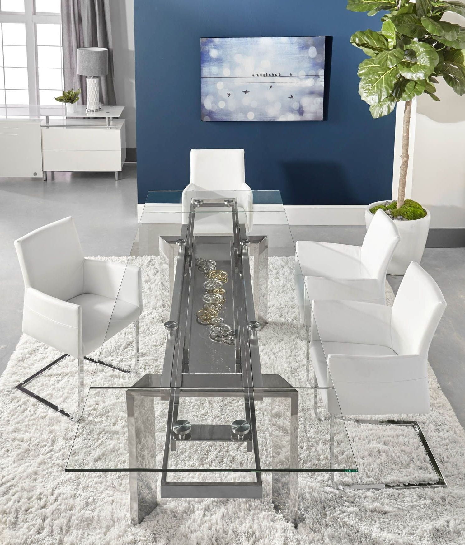 Chrono Stainless Steel Extendable Dining Room Set with Regis Bo ...