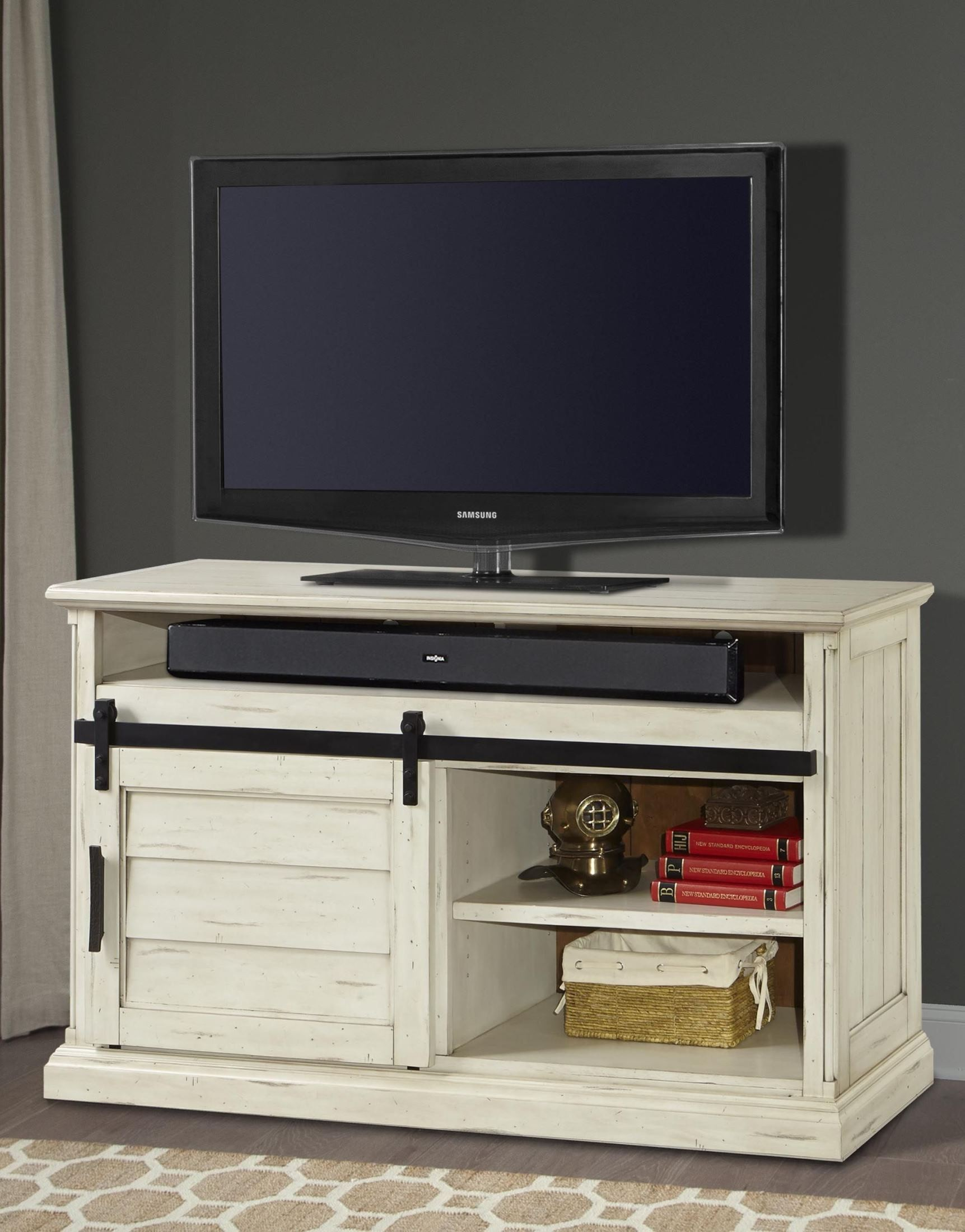 chesapeake vintage burnished rustic white 55 tv console with sliding doors from parker house. Black Bedroom Furniture Sets. Home Design Ideas