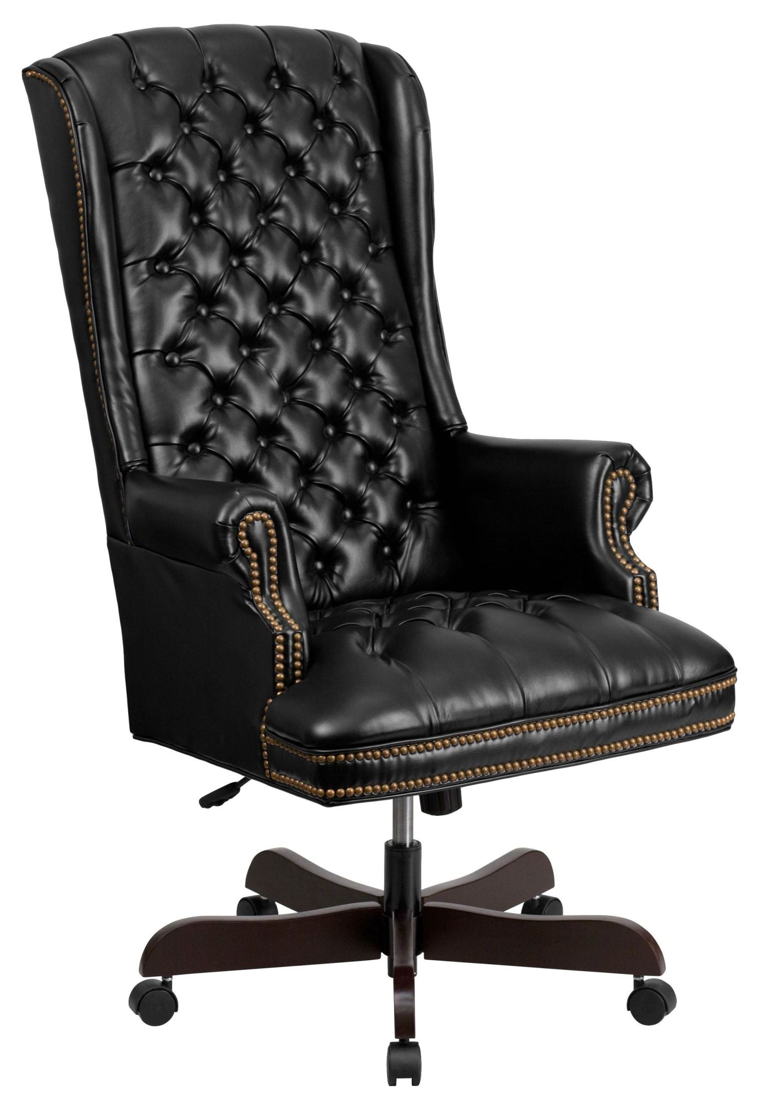 Executive Office Furniture: 360 High Back Tufted Black Leather Executive Office Chair