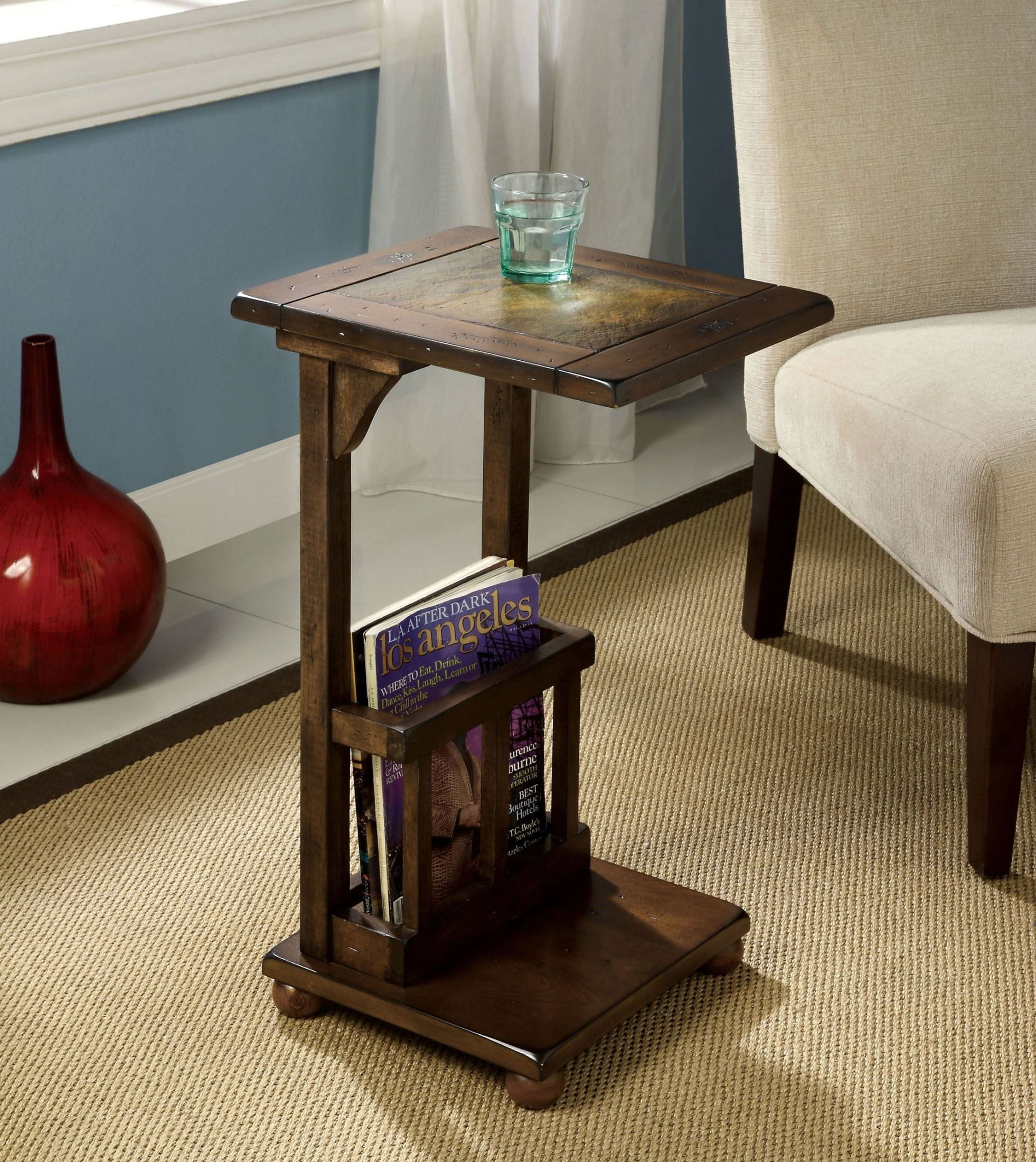 Wilcox Slate-Insert Side Table from Furniture of America ...