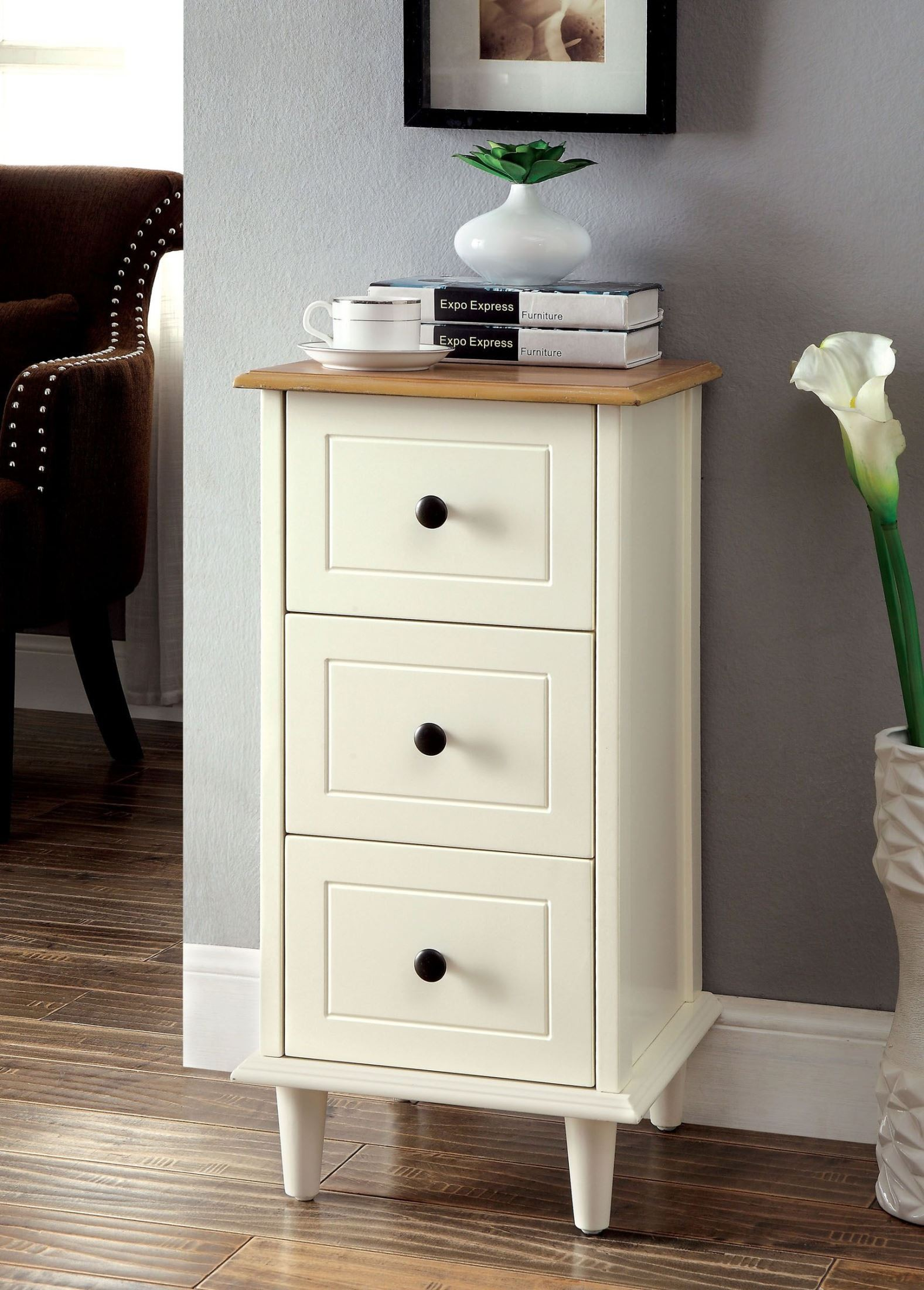 Dillon White 3-Drawer Side Table From Furniture Of America