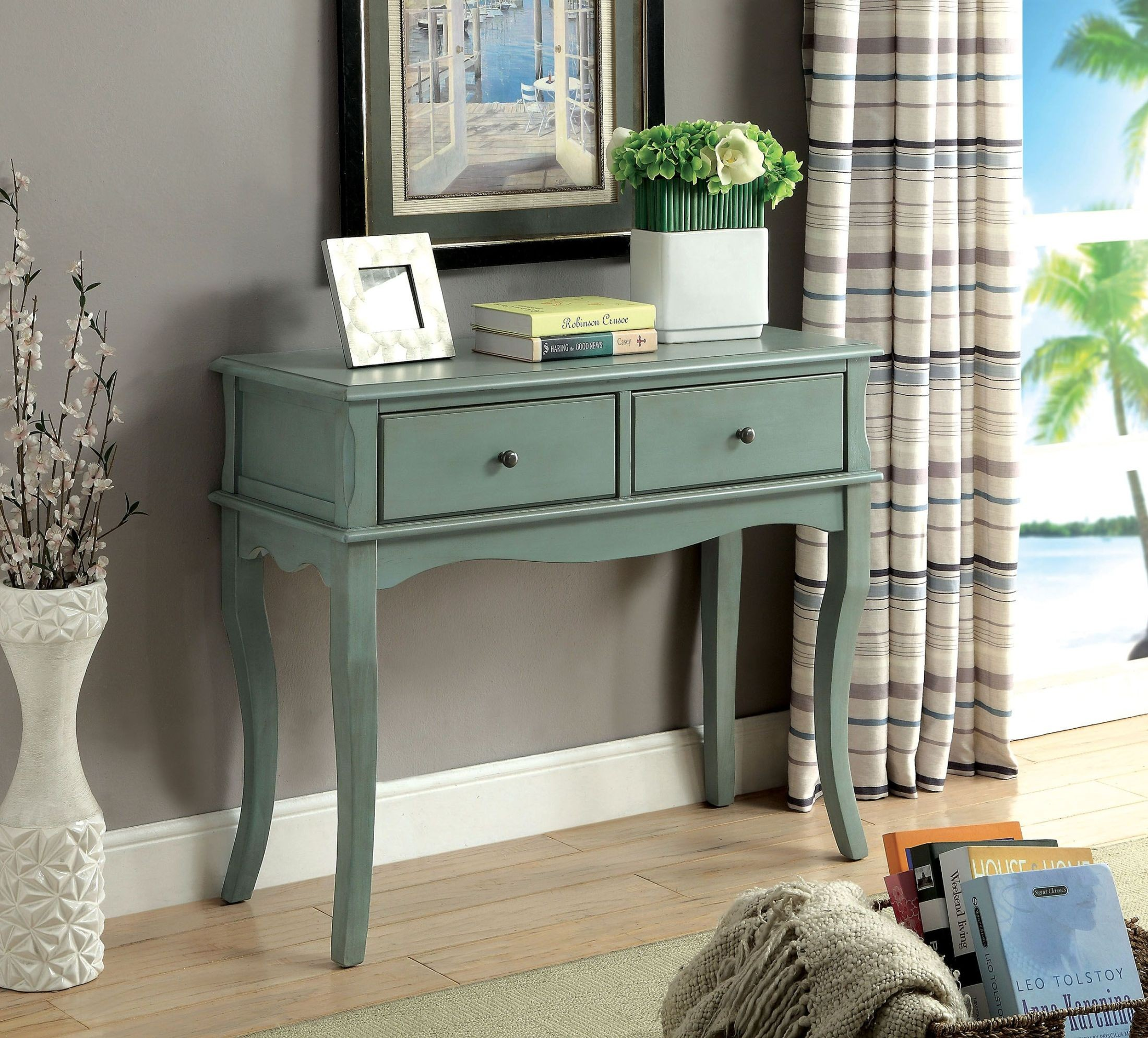 outstanding hallway cabinets furniture | Toni Antique Teal Hallway Cabinet from Furniture of ...