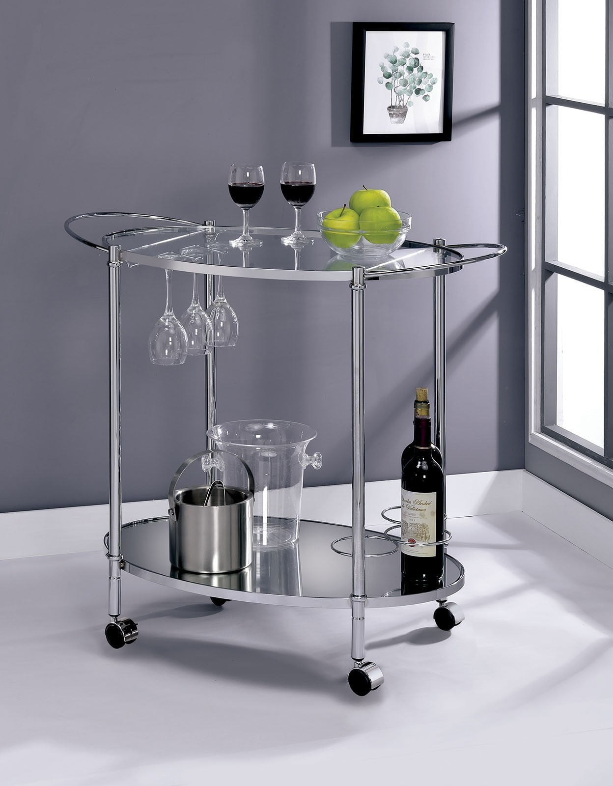 Dendermonde Chrome Serving Cart from Furniture of America