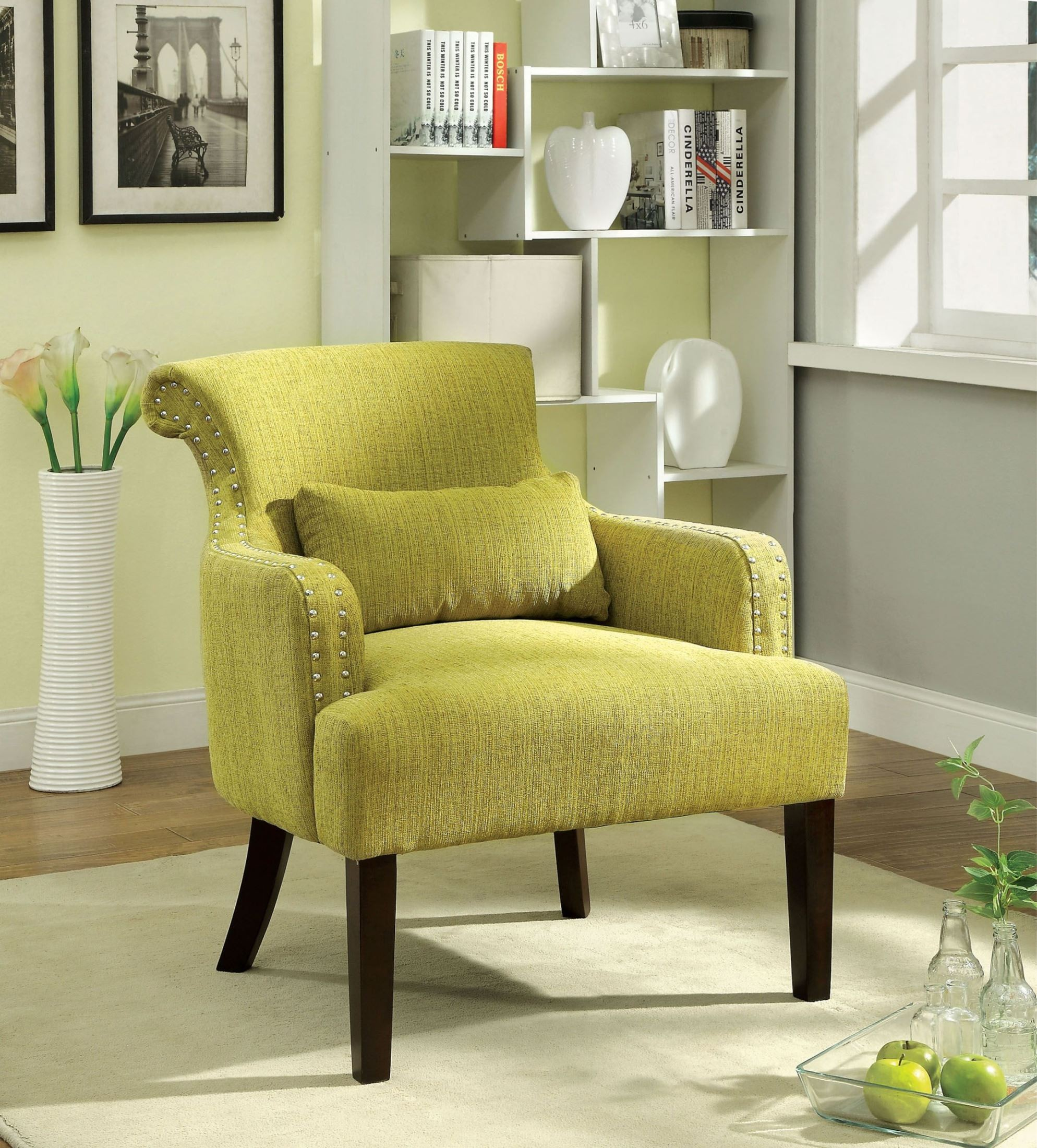 Green Accent Chair With Recliner: Agalva Green Fabric Accent Chair From Furniture Of America
