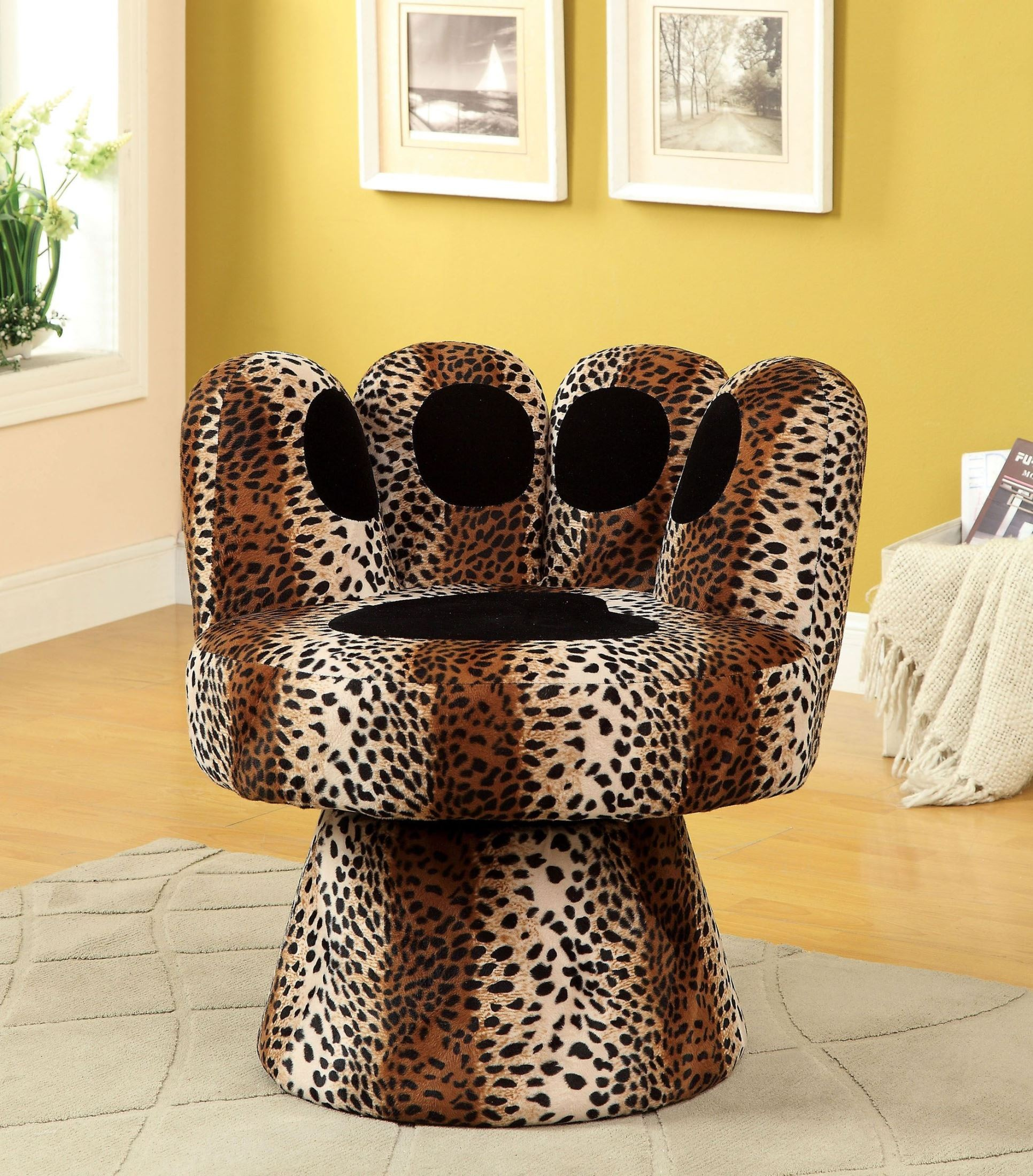 Paus Leopard Print Swivel Accent Chair From Furniture Of