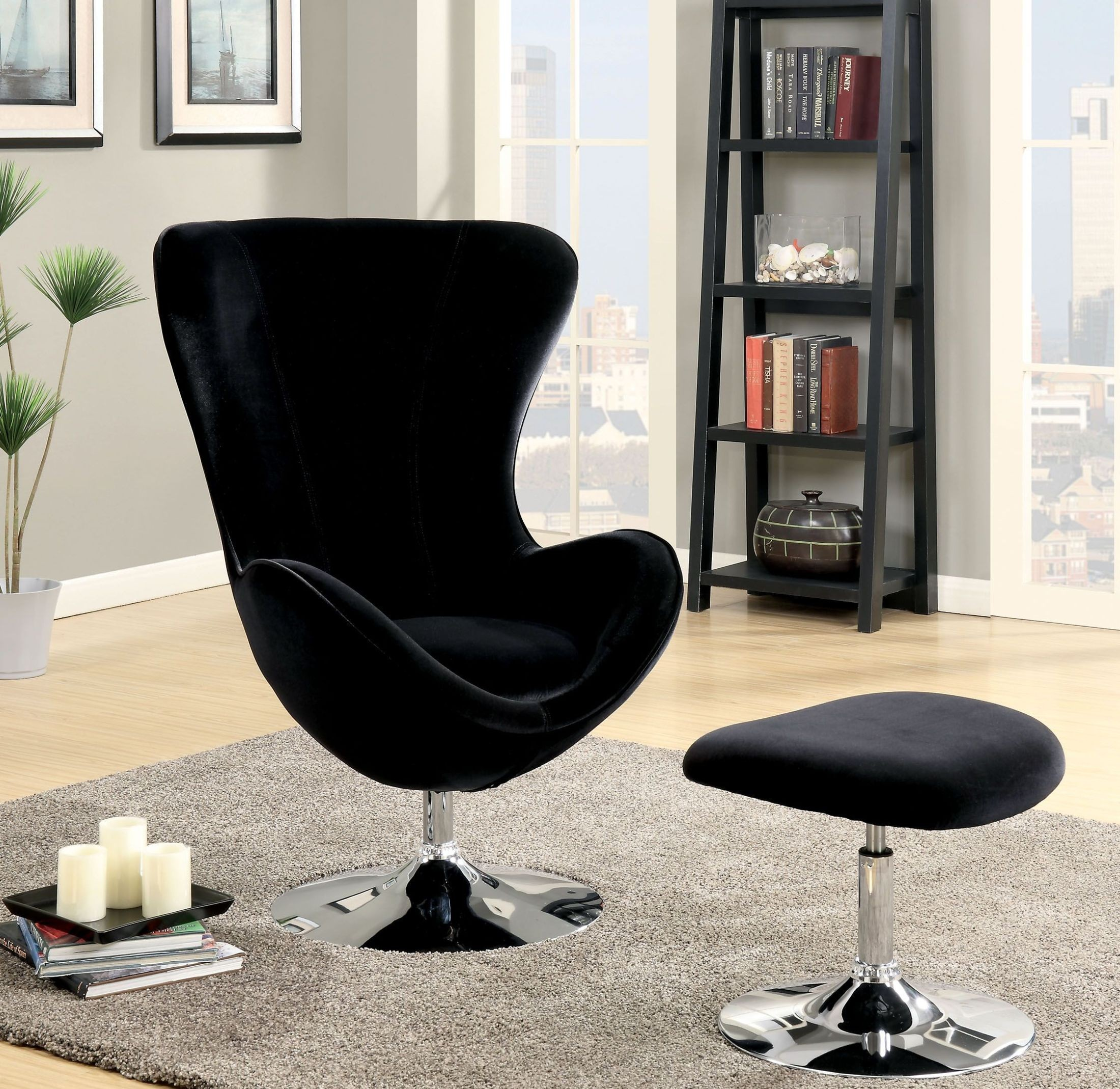 Shelia Black Accent Chair With Ottoman from Furniture of America