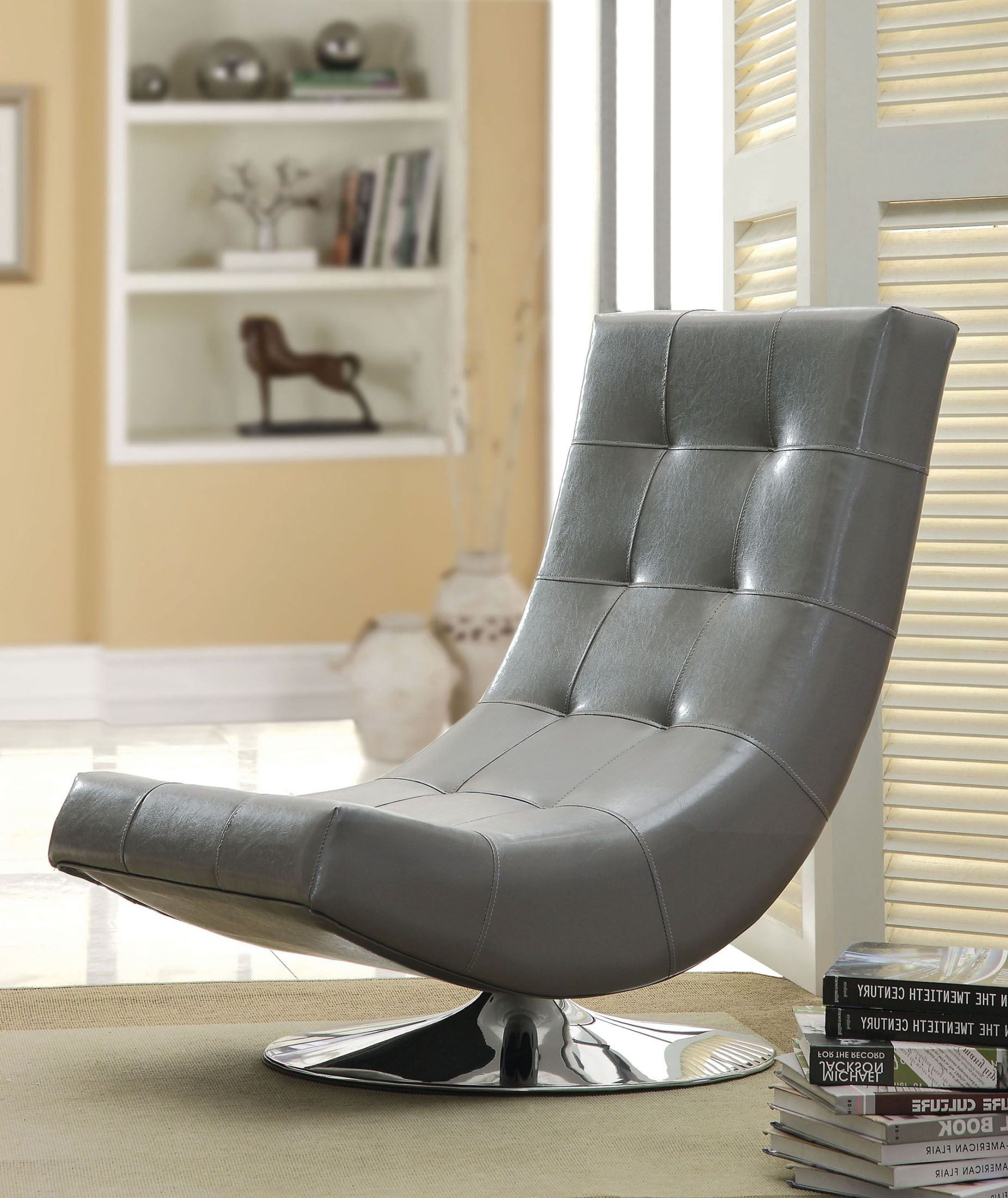 Trinidad Gray Swivel Accent Chair From Furniture Of