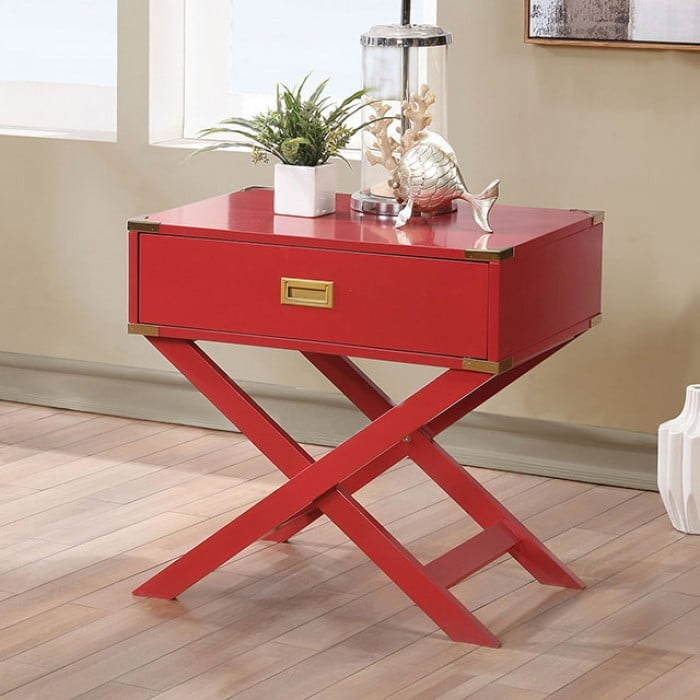 Goodyear red side table from furniture of america for Red side table