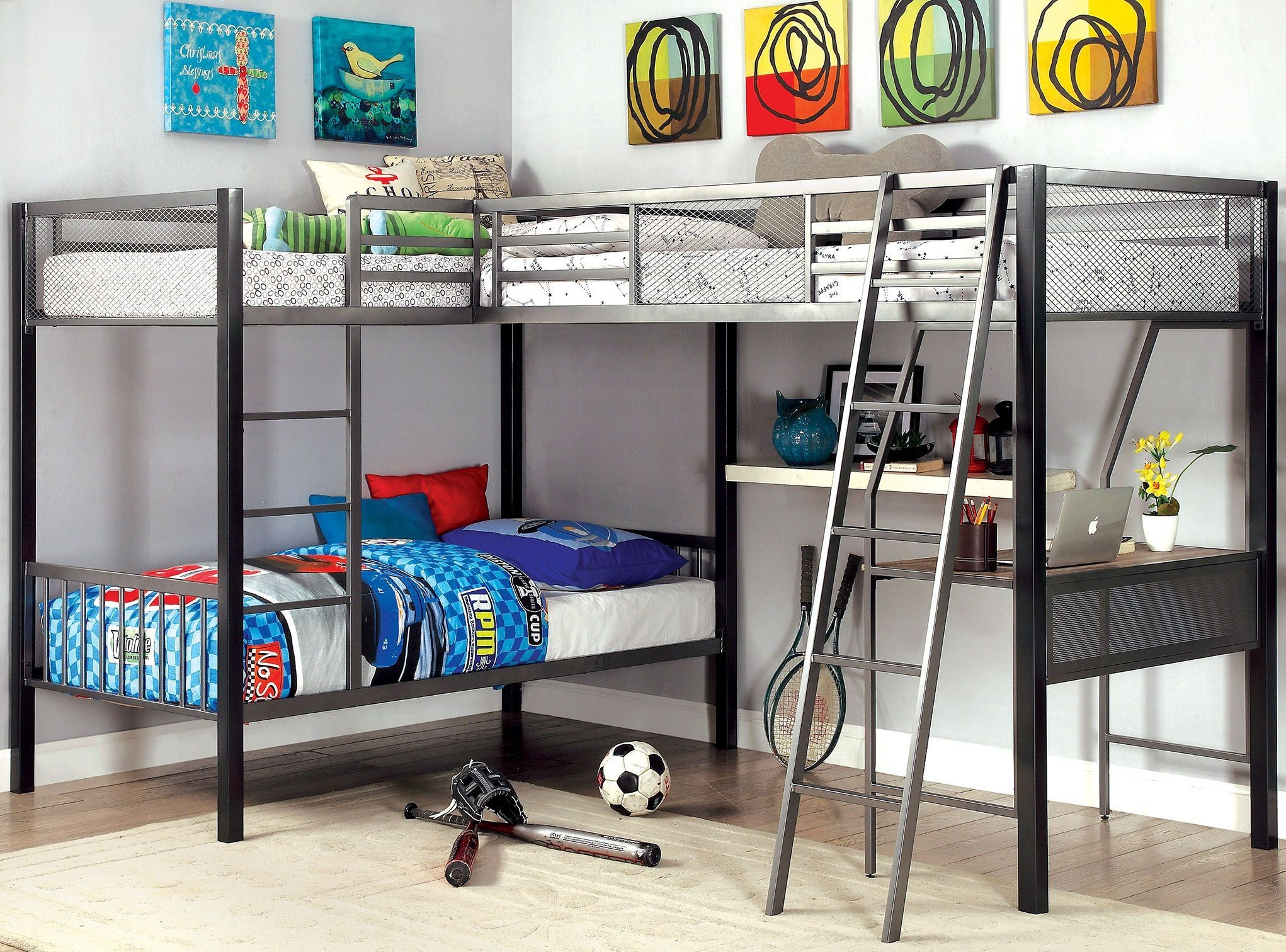 ballarat gray and silver l shaped triple twin bunk bed with desk from furniture of america. Black Bedroom Furniture Sets. Home Design Ideas