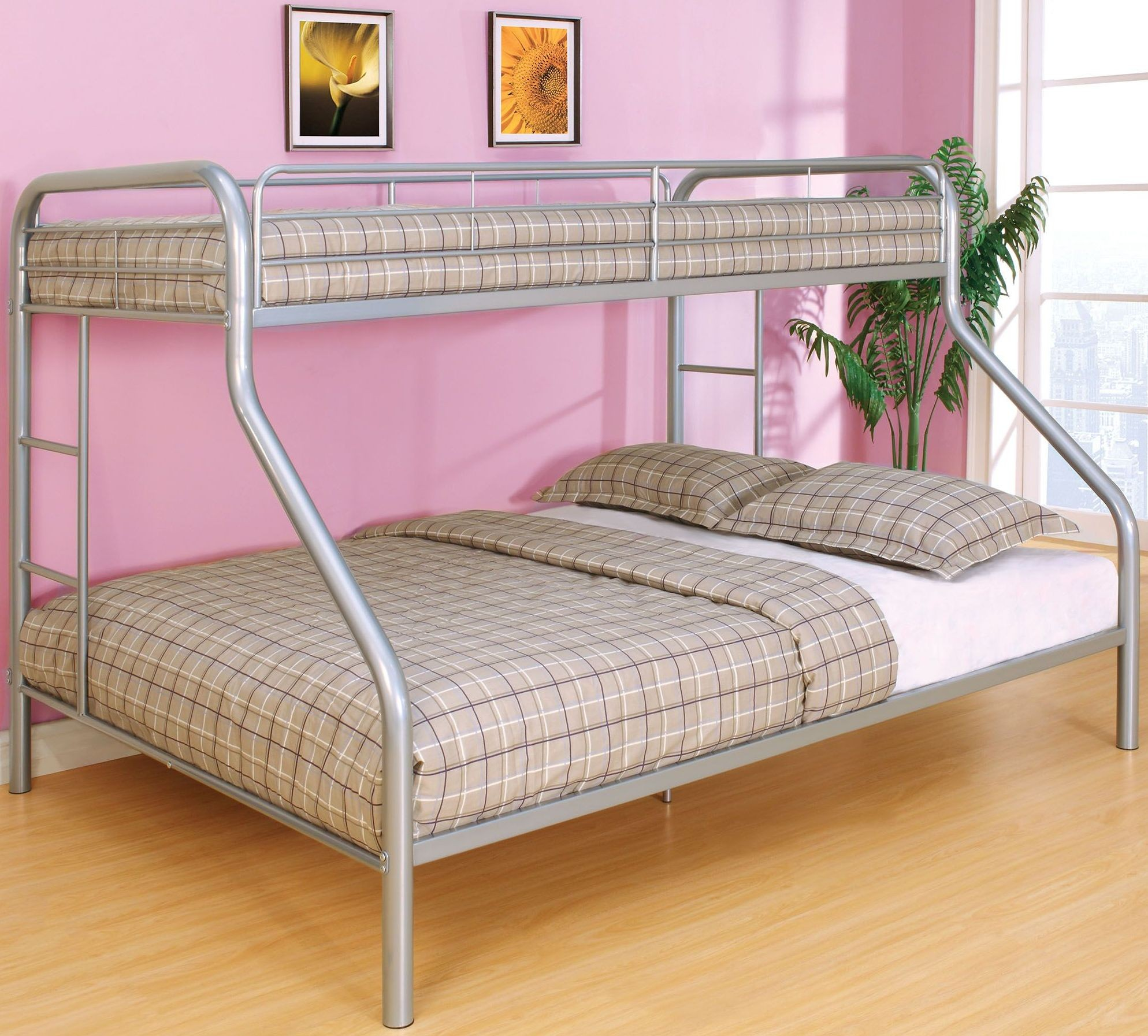 rainbow silver twin over queen bunk bed from furniture of america coleman furniture. Black Bedroom Furniture Sets. Home Design Ideas