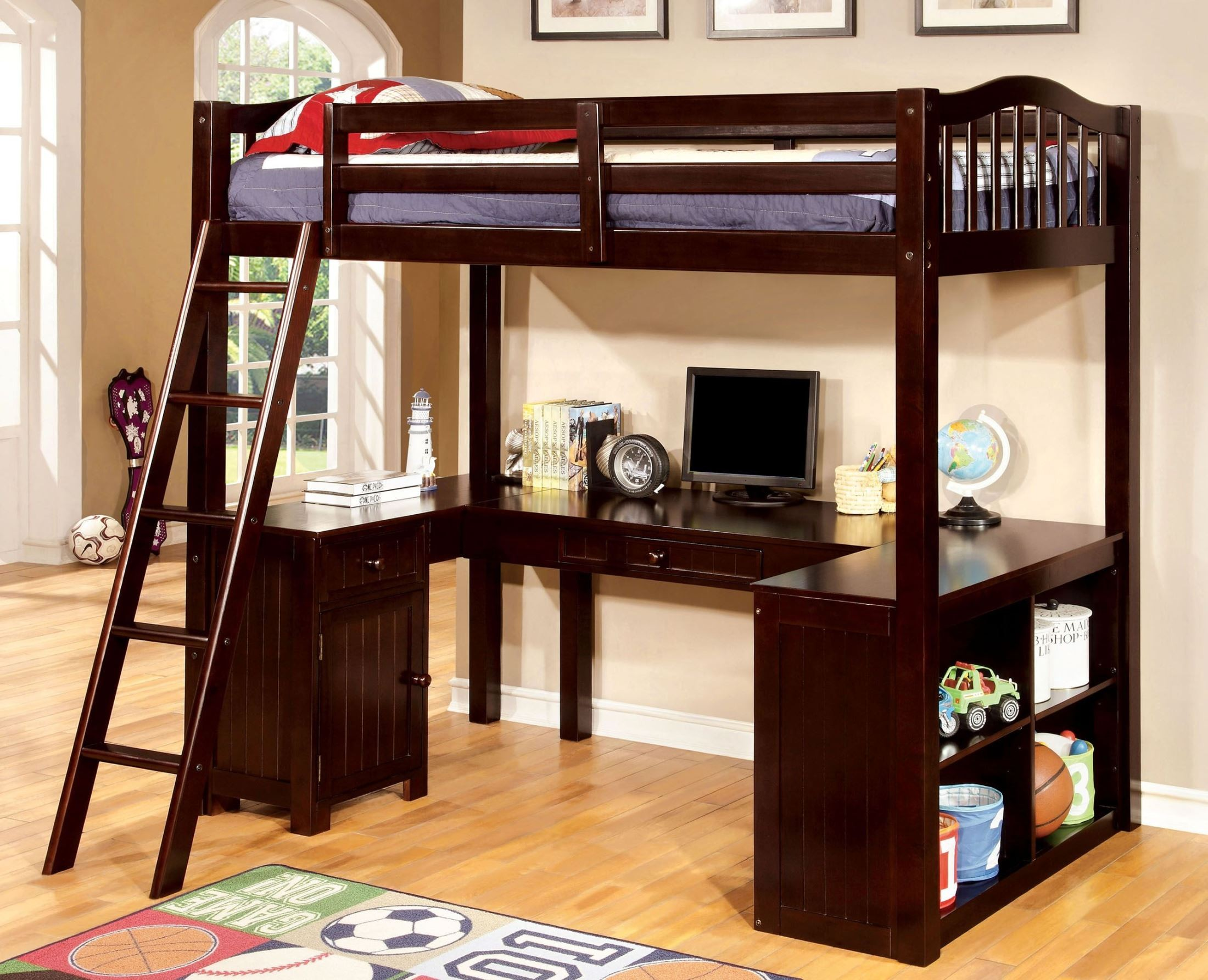 Dutton Espresso Twin Loft Bed With Workstation From
