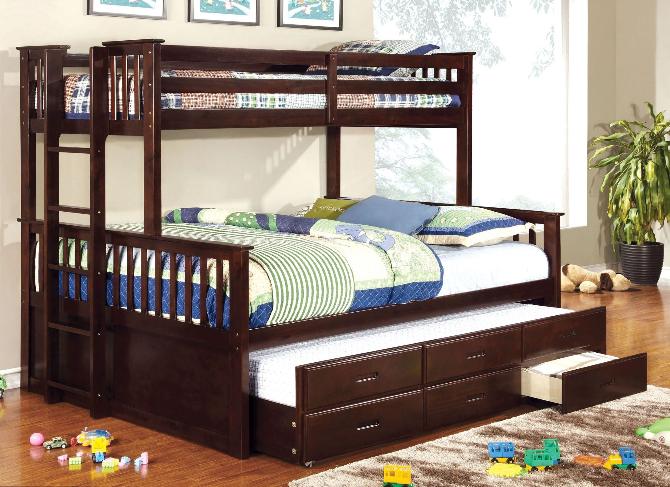 University Espresso Extra Long Twin Over Queen Bunk Bed From Furniture Of America Cm Bk458q Exp