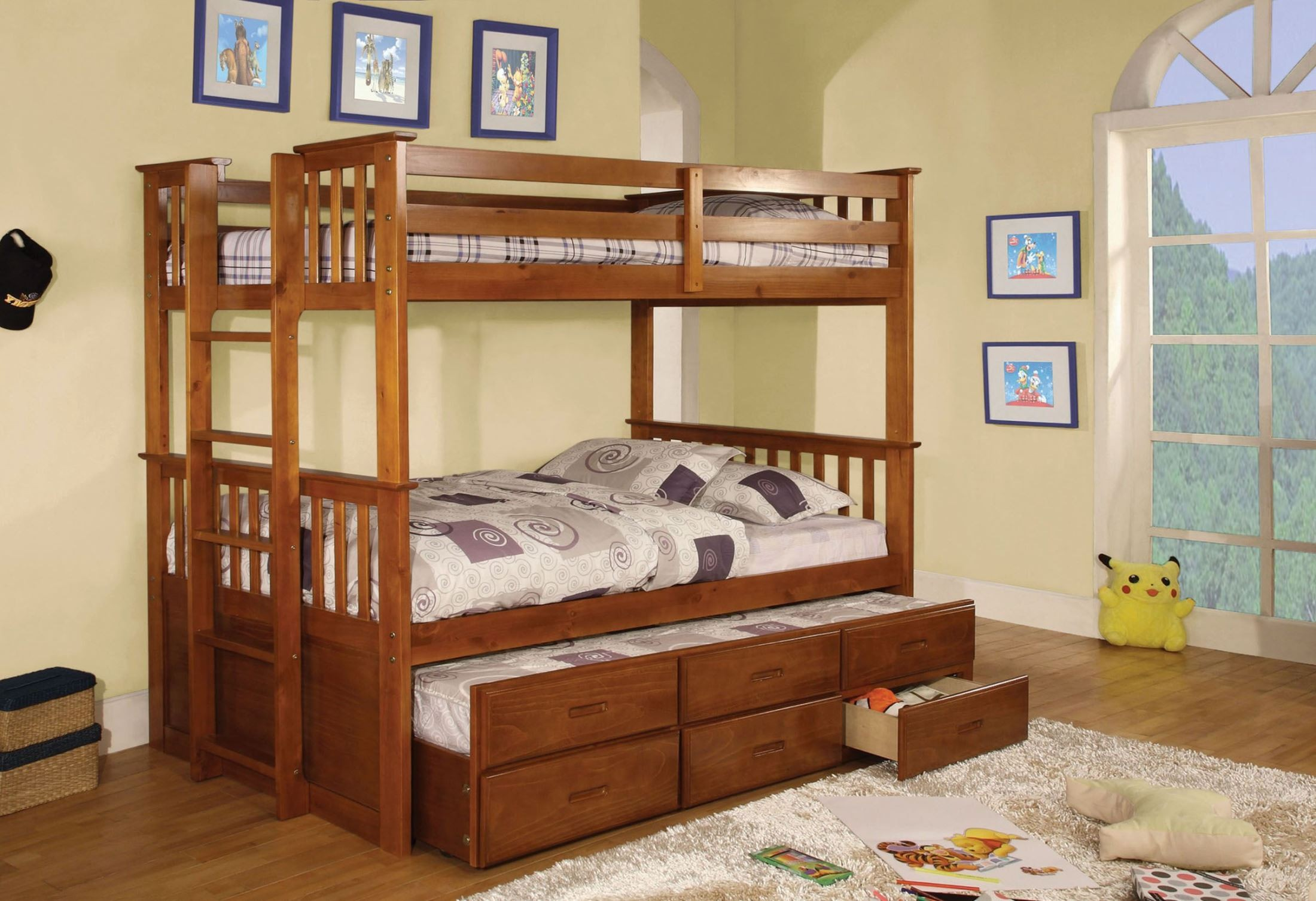 University I Oak Twin Over Twin Bunk Bed From Furniture Of America (CM-BK458T-OAK-BED)
