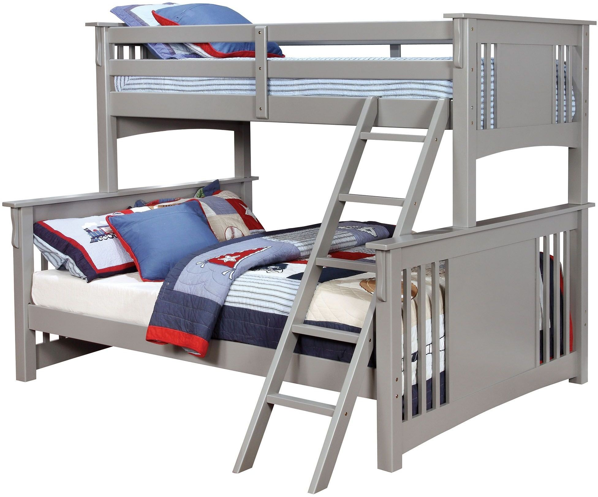 spring creek gray twin xl over queen bunk bed from furniture of america coleman furniture. Black Bedroom Furniture Sets. Home Design Ideas