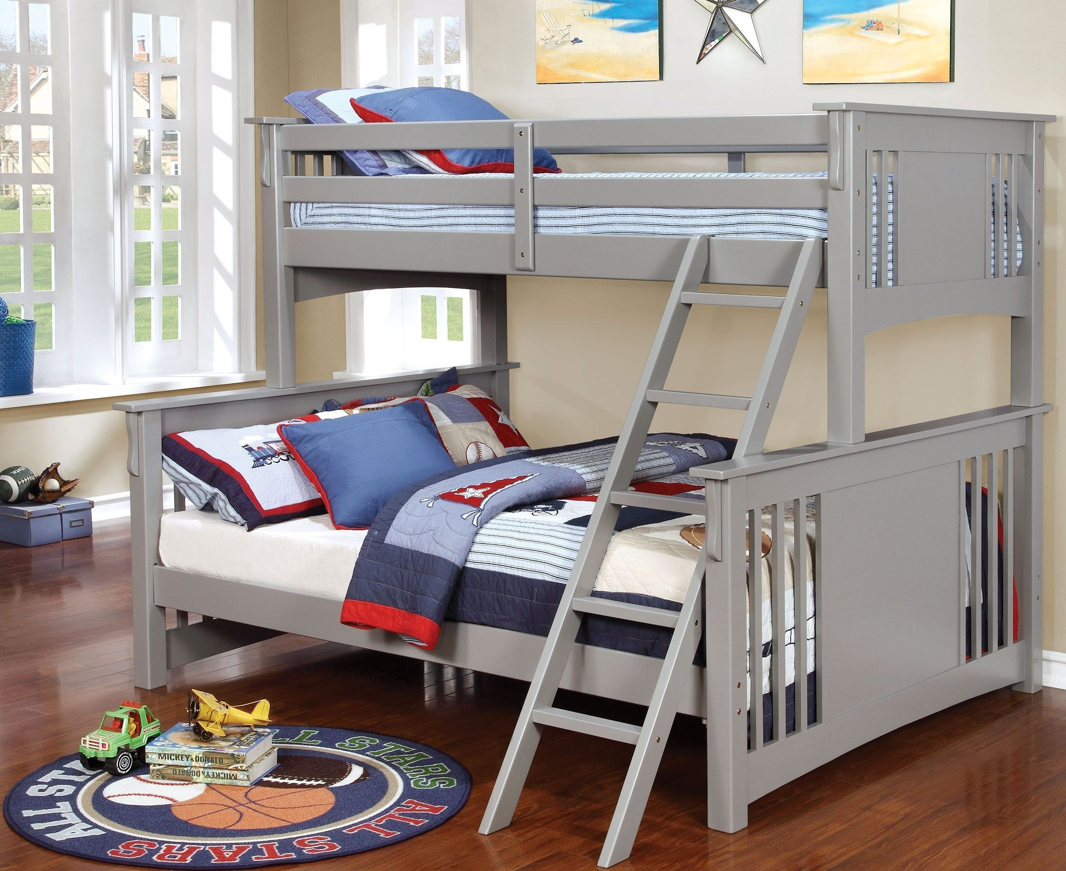 Spring Creek Gray Twin Xl Over Queen Bunk Bed Cm Bk604gy
