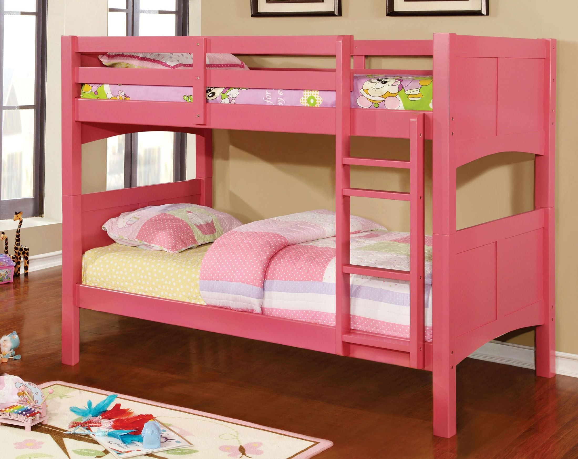 Prismo II Pink Twin Over Twin Bunk Bed from Furniture of