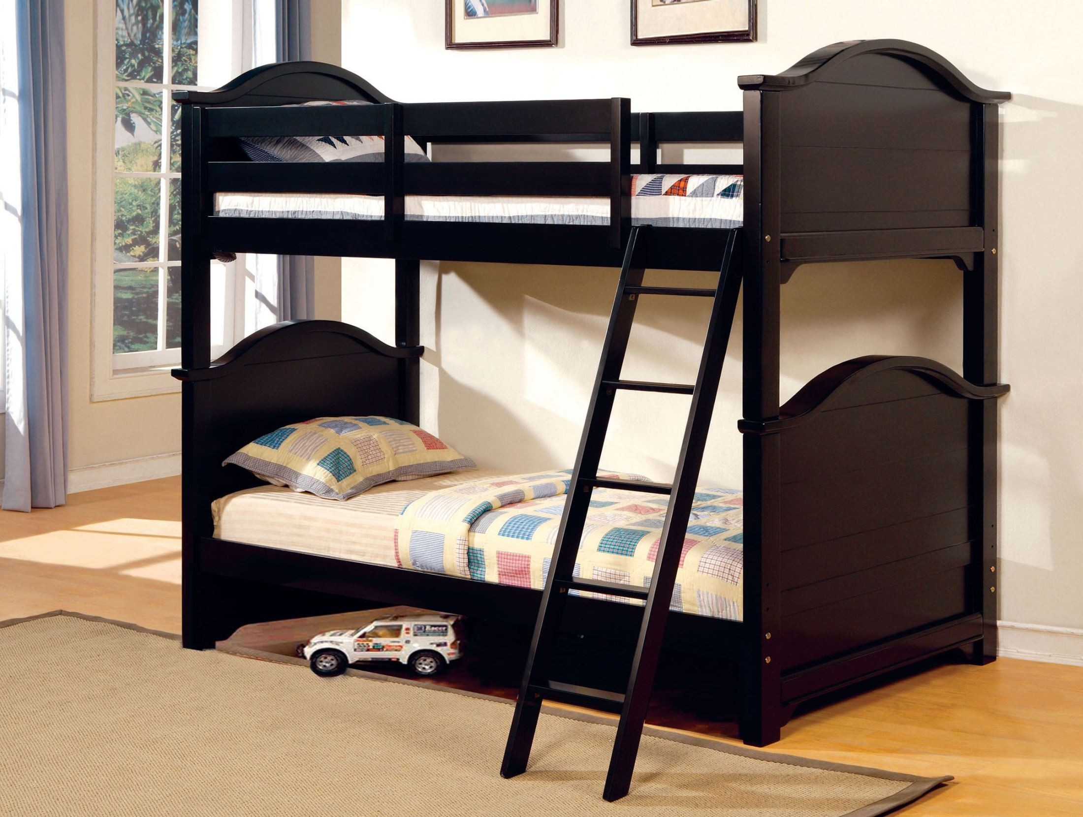 Chesapeake black twin over twin bunk bed from furniture of Black twin bed