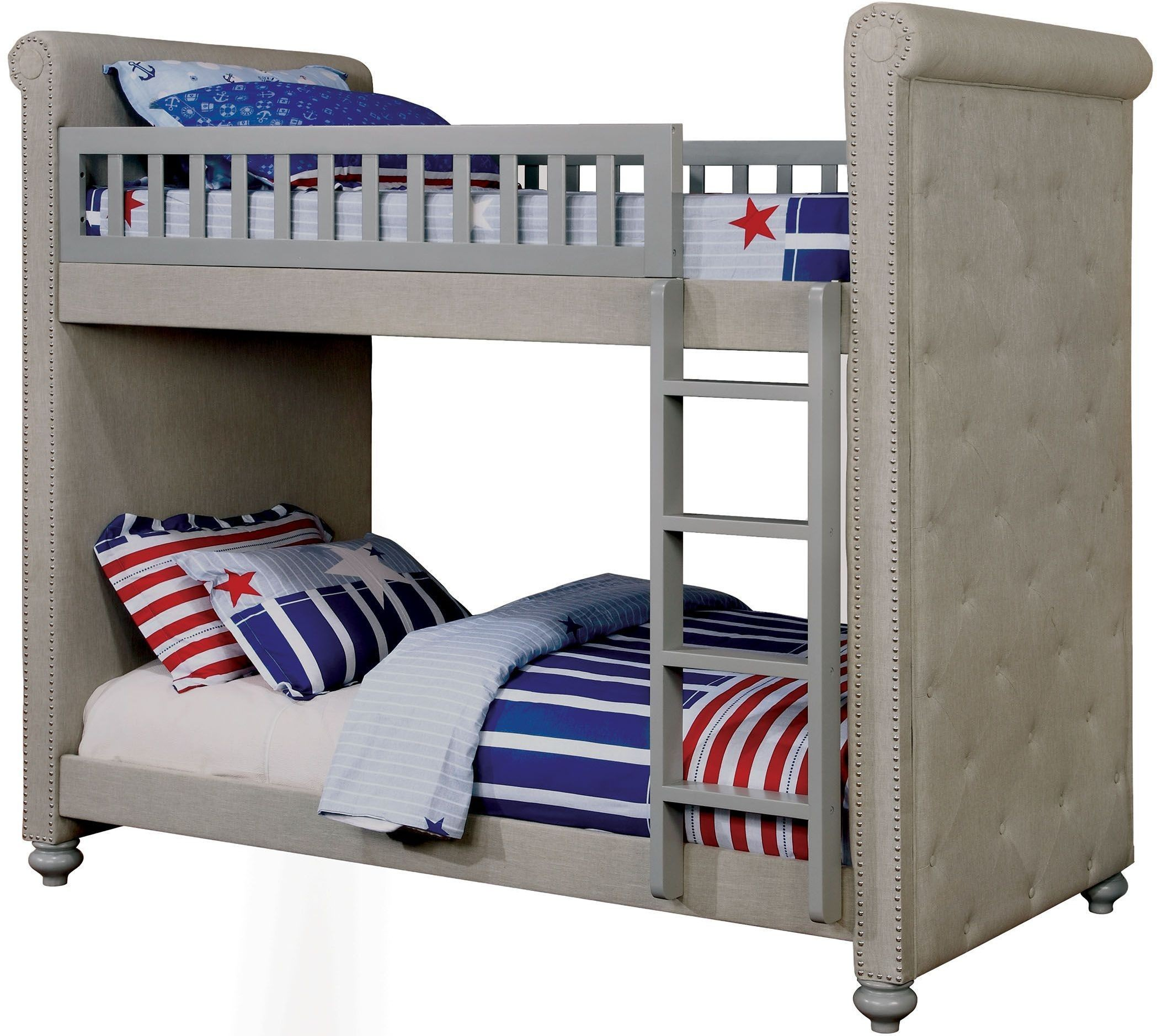 Sascha gray twin over twin bunk bed from furniture of for Furniture of america furniture