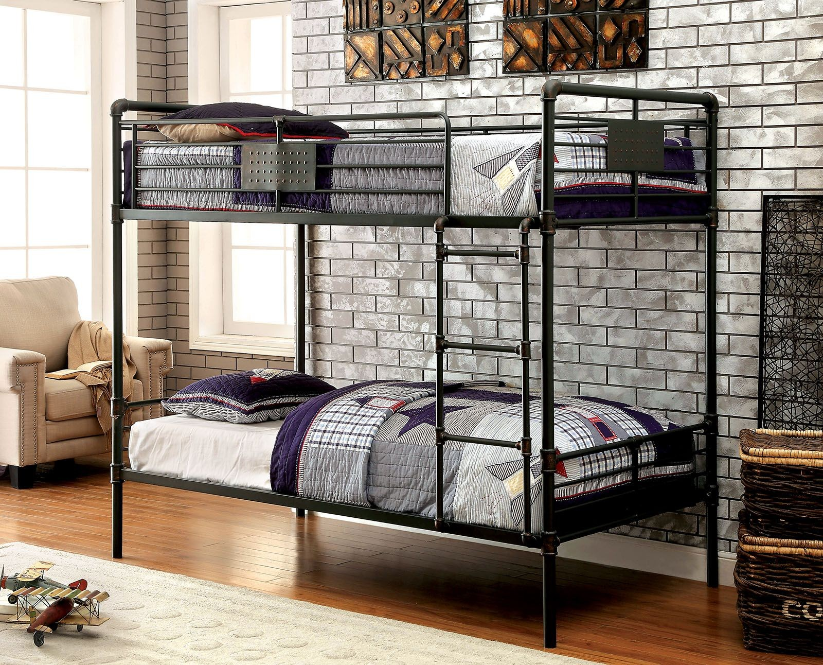 olga i antique black twin over twin metal bunk bed from furniture of america coleman furniture. Black Bedroom Furniture Sets. Home Design Ideas