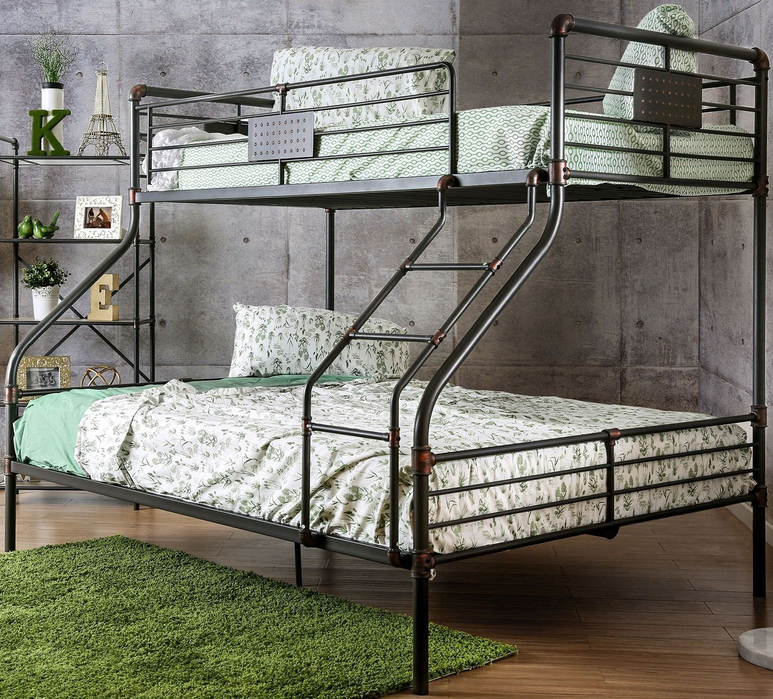Olga i antique black twin over queen bunk bed from for Twin bed queen bed