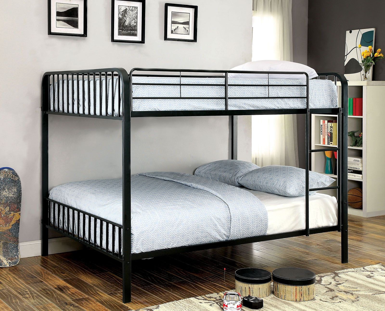 clement black full over full metal bunk bed from furniture of america coleman furniture. Black Bedroom Furniture Sets. Home Design Ideas