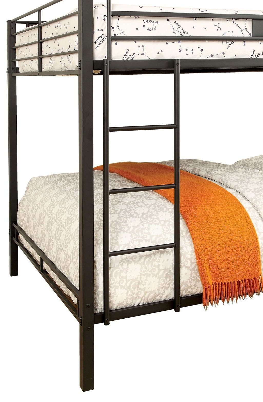 claren black queen over queen bunk bed from furniture of america coleman furniture. Black Bedroom Furniture Sets. Home Design Ideas