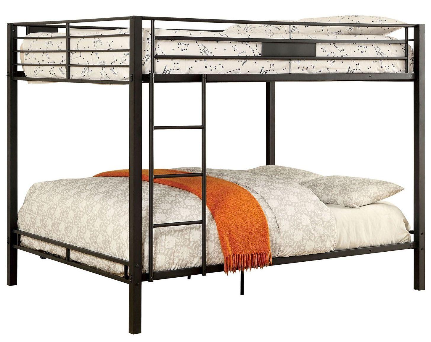 Claren black queen over queen bunk bed from furniture of for 5 in 1 bed