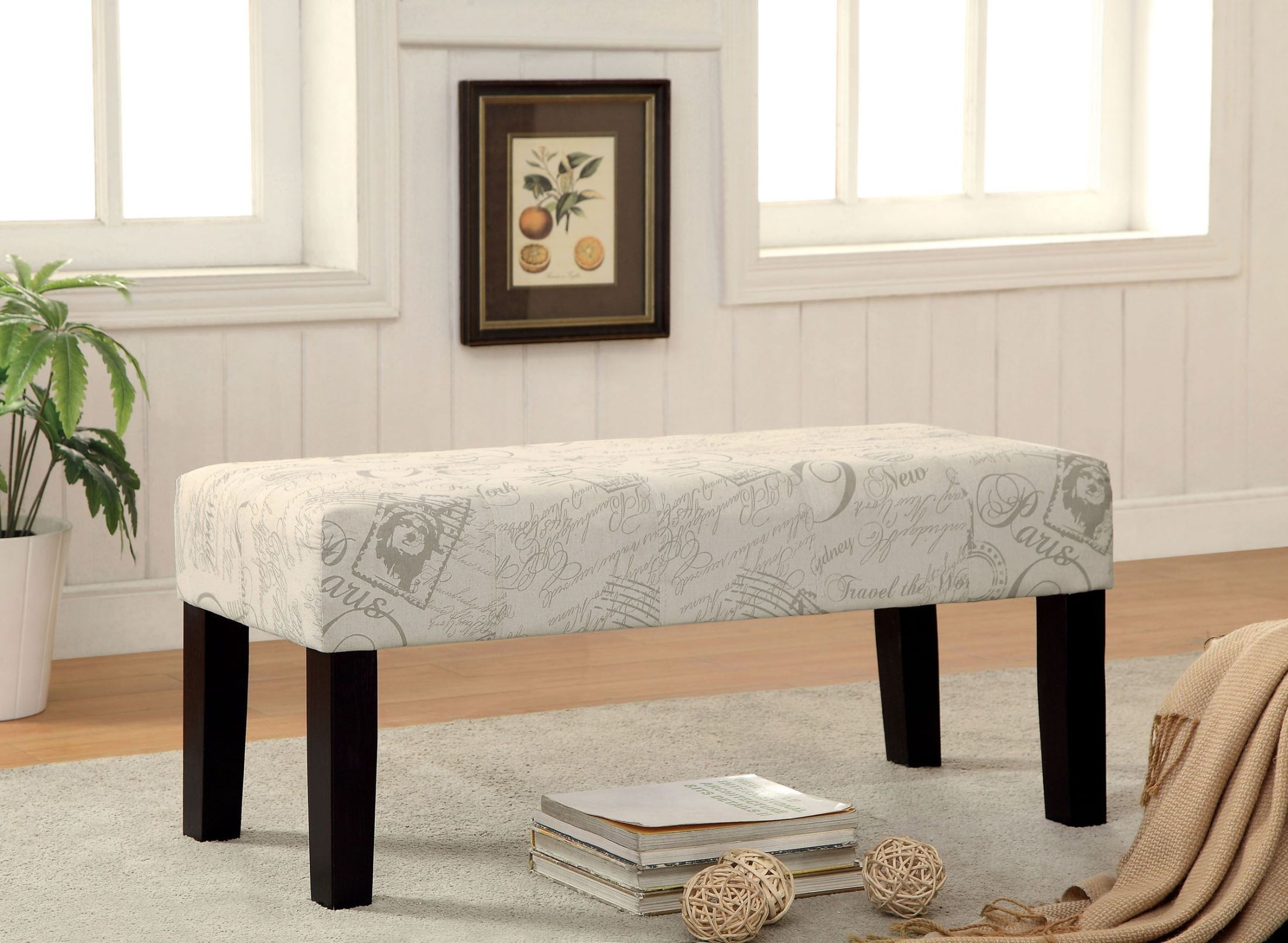 Bury world traveler fabric bench from furniture of america for K furniture fabric world