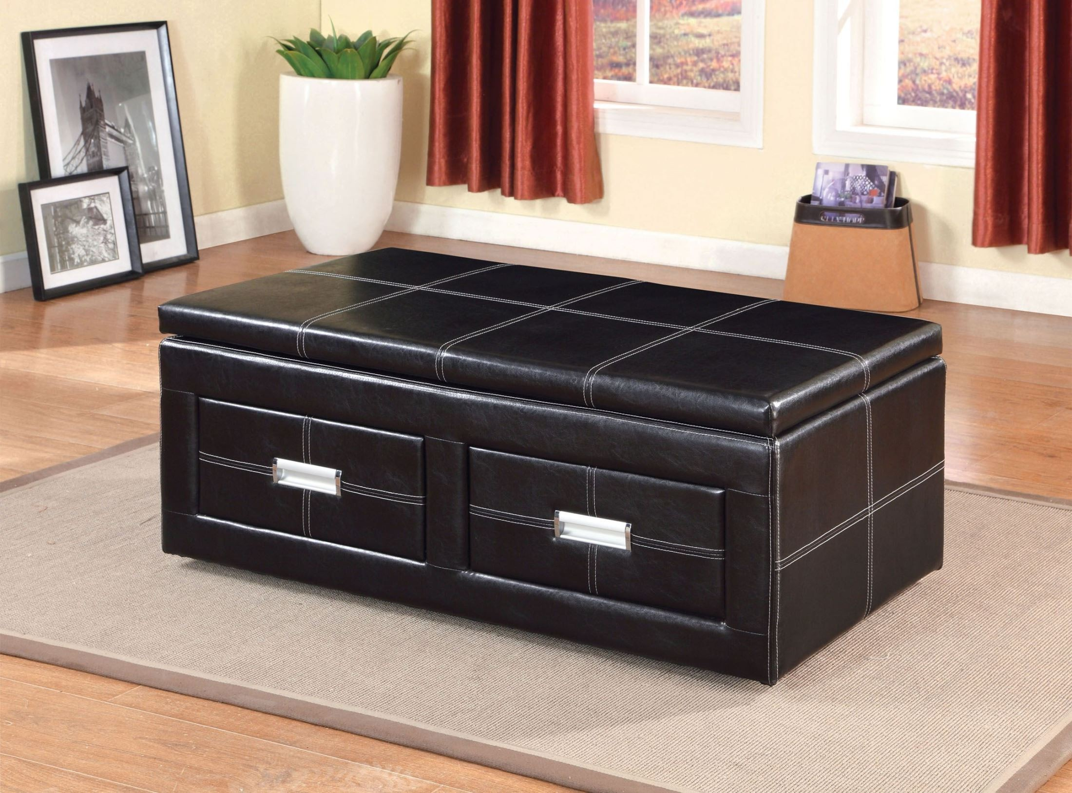 Ostel 2 Drawer Lift Top Storage Ottoman From Furniture Of